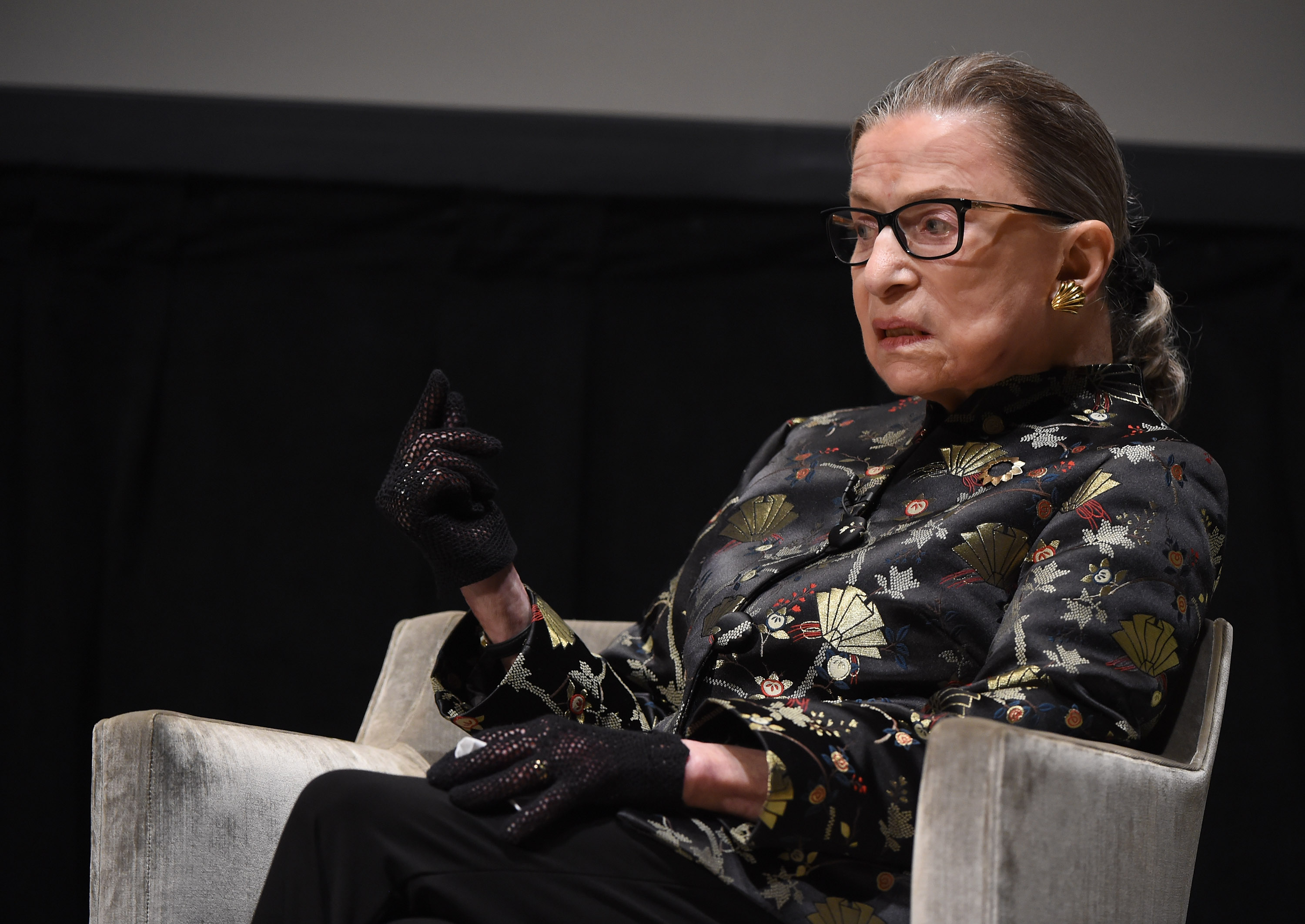 Supreme Court Justice Ruth Bader Ginsburg presents at an event at the Temple Emanu-El Skirball Center on Sept. 21, 2016 in New York City.