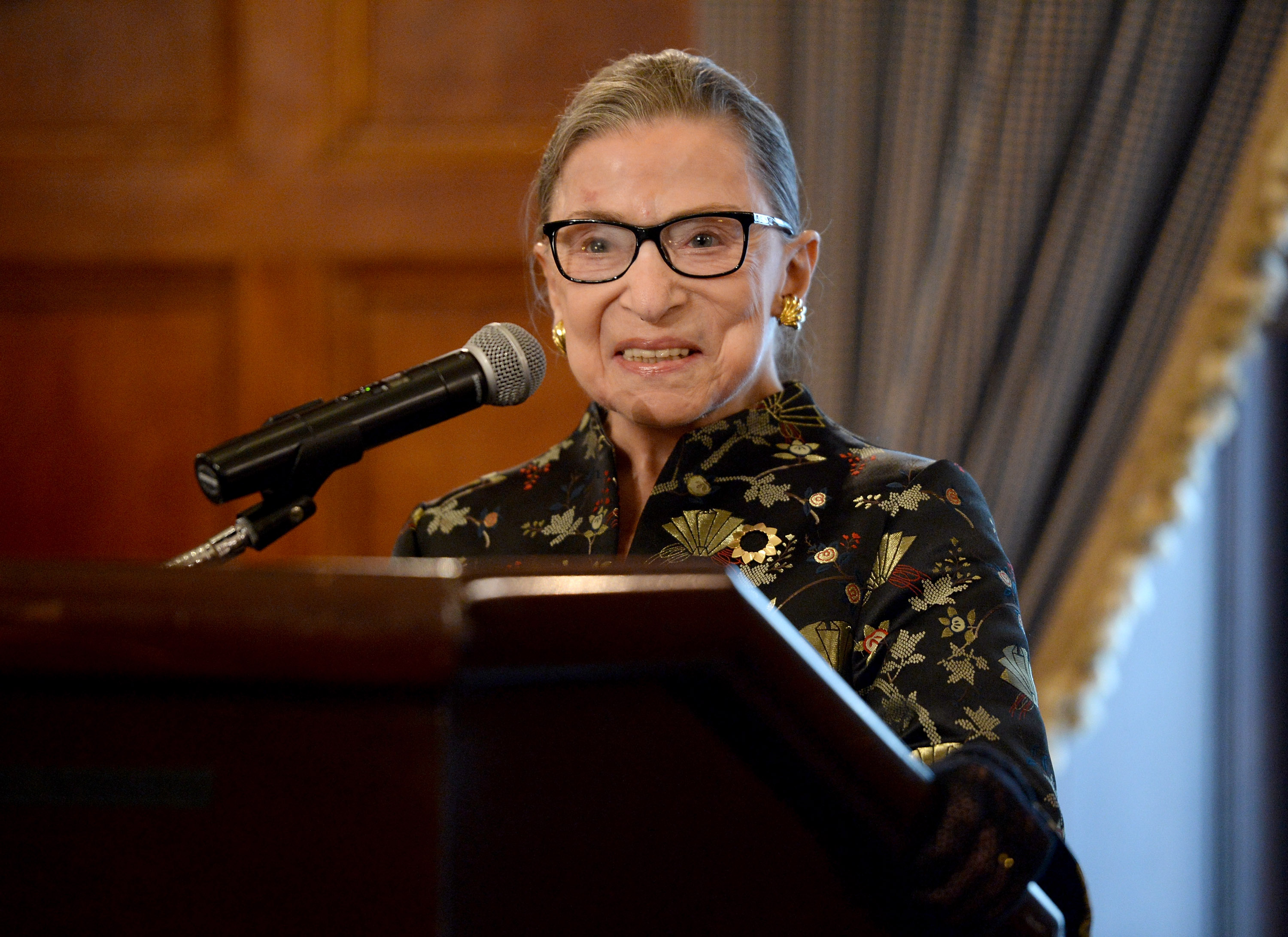 Supreme Court Justice Ruth Bader Ginsburg presents onstage at a reception before an event at the Temple Emanu-El Skirball Center on Sept. 21, 2016 in New York City.