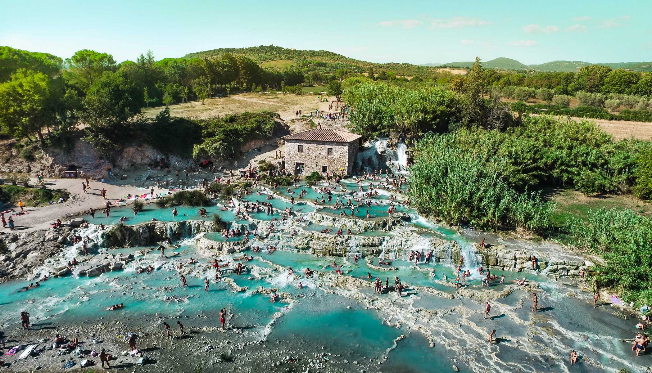 Saturnia hot springs in Central Tuscany, Italy.