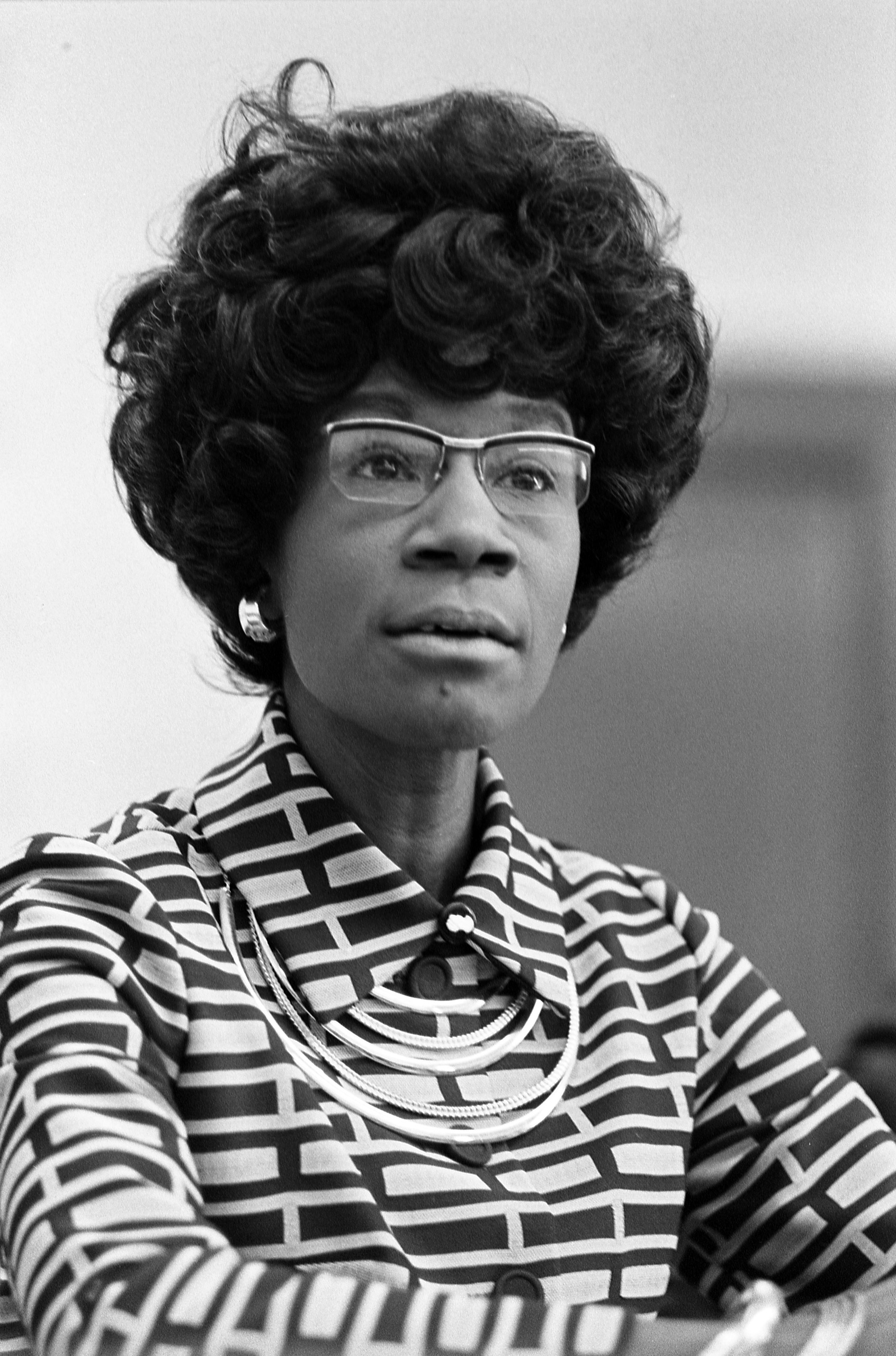 Congresswoman Shirley Chisholm announcing her candidacy for presidential nomination, January 1972.