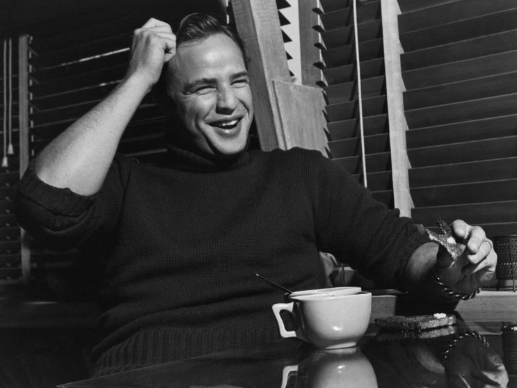 """Marlon Brando photographed in his Beverly Glen home for the Saturday Evening Post article, """"The Star Who Sneers at Hollywood,"""" June 6, 1953."""