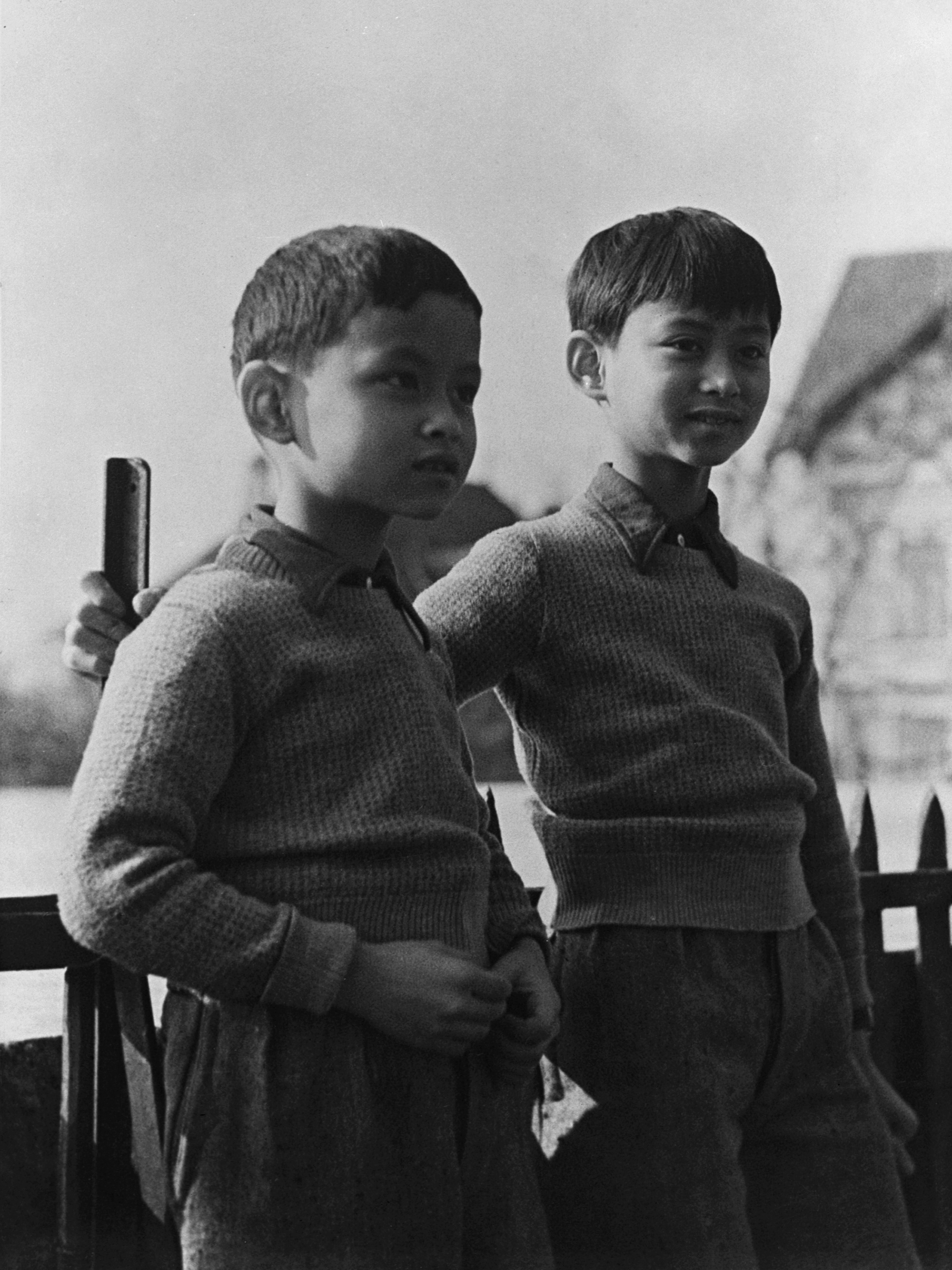 Prince Bhumibol (left), now King Bhumibol Adulyadej, with his brother Prince Ananda in Lausanne, Switzerland, March 7, 1935.