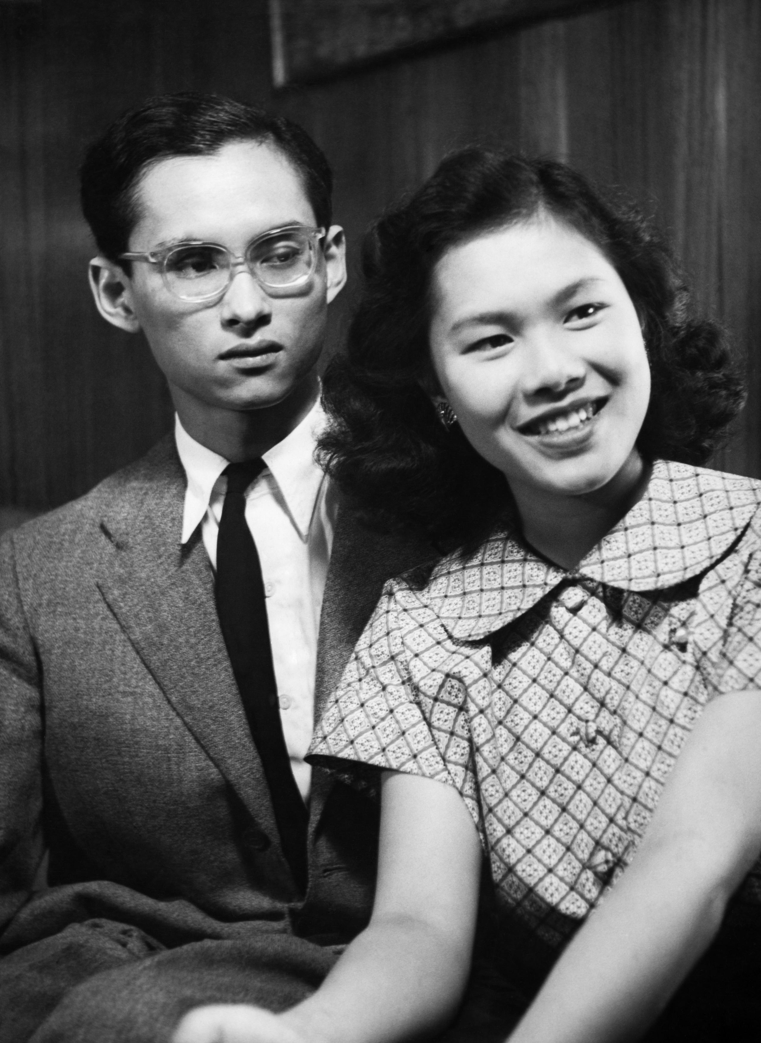 King Bhumibol Adulyadej, 21, with his future wife Sirikit Kitiyakara, 17, in Pully, Switzerland, in 1949.