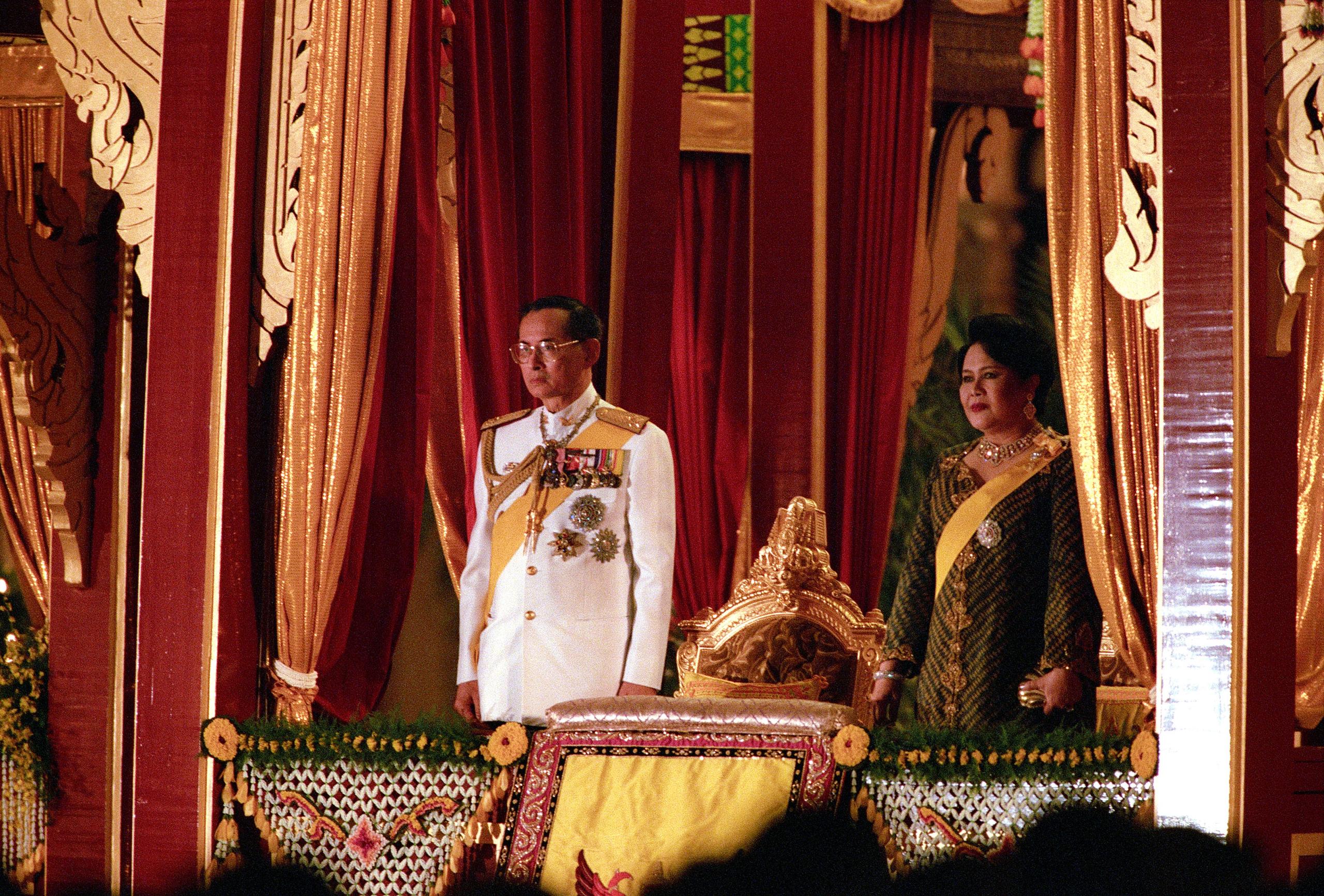 King Bhumibol Adulyadej and Queen Sirikit, in Bangkok on June 9, 1996
