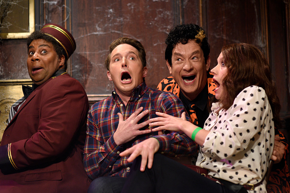 Pictured: (l-r) Kenan Thompson, Beck Bennett, Tom Hanks as David Pumpkins, and Kate McKinnon during Saturday Night Live's 'Haunted Elevator' sketch on October 22, 2016