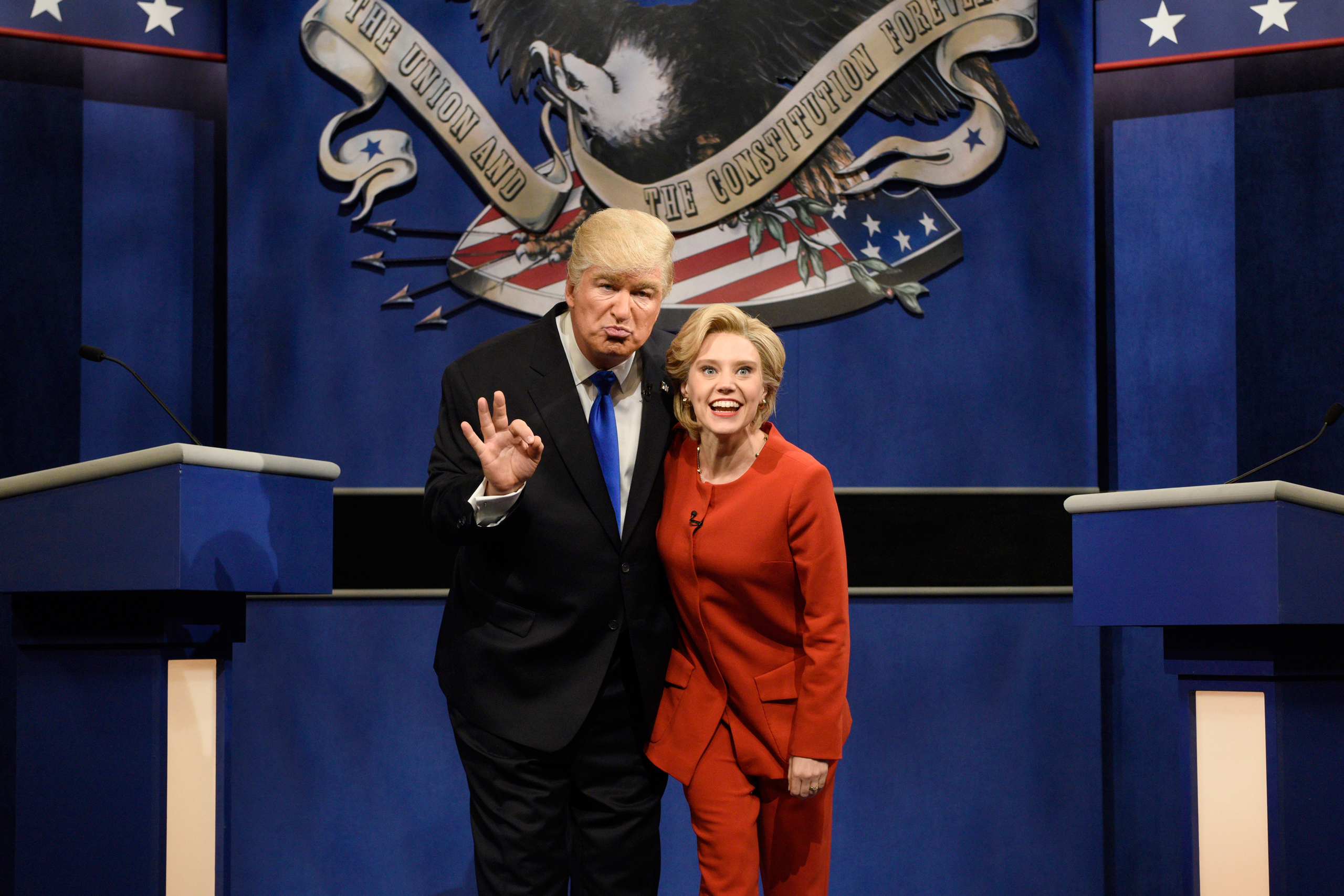 Alec Baldwin as Donald Trump and Kate McKinnon as Hillary Clinton during the  Debate Cold Open  sketch on October 1, 2016.