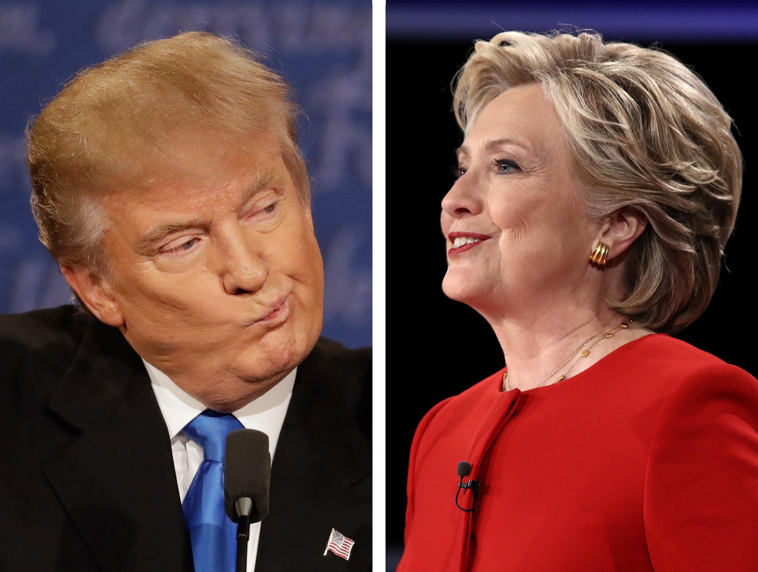 Left: Republican presidential nominee Donald Trump; Right: Democratic presidential nominee Hillary Clinton.