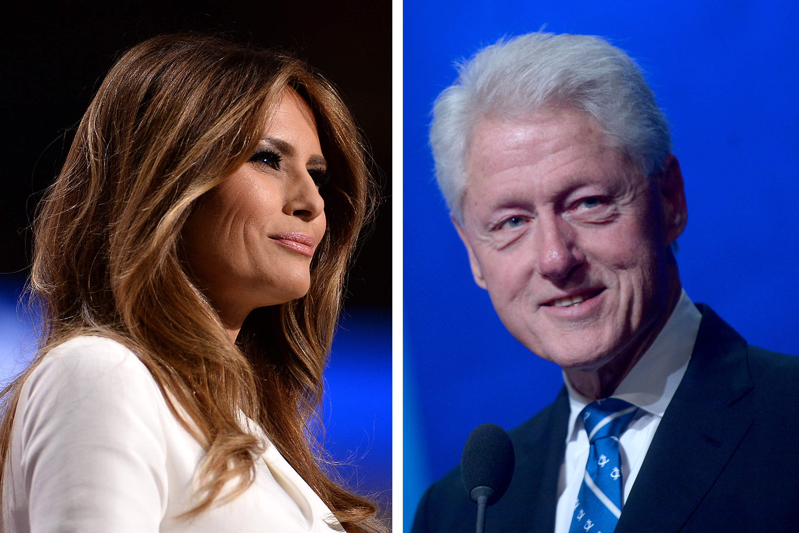 Left: Melania Trump at he Republican National Convention in Cleveland, Oh., on July 18, 2016; Right: Bill Clinton at the annual meeting of the Clinton Global Initiative in New York City on Sept. 19, 2016.