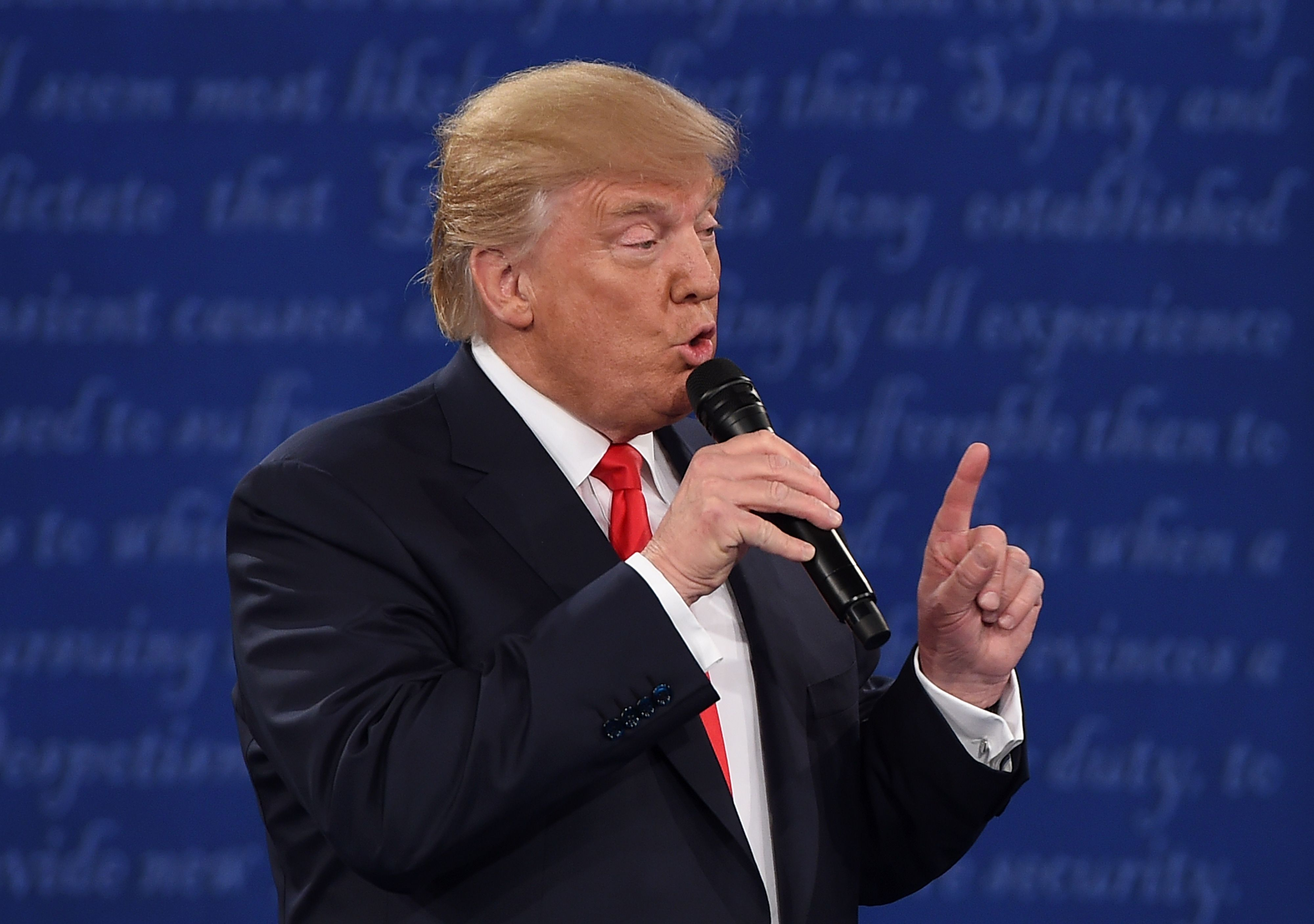 Republican presidential candidate Donald Trump speaks during the second presidential debate at Washington University in St. Louis on Oct. 9, 2016