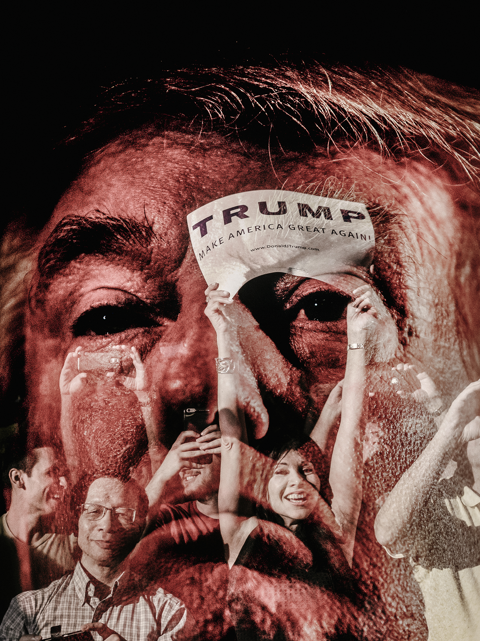 A double-exposure photograph of Trump supporters at a rally in Boca Raton, Fla., and Trump in Milford, N.H.
