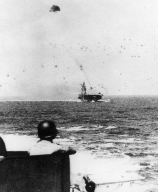 This kamikaze attack on the USS Intrepid on Nov. 25, 1944, killed more than 75 U.S. sailors.
