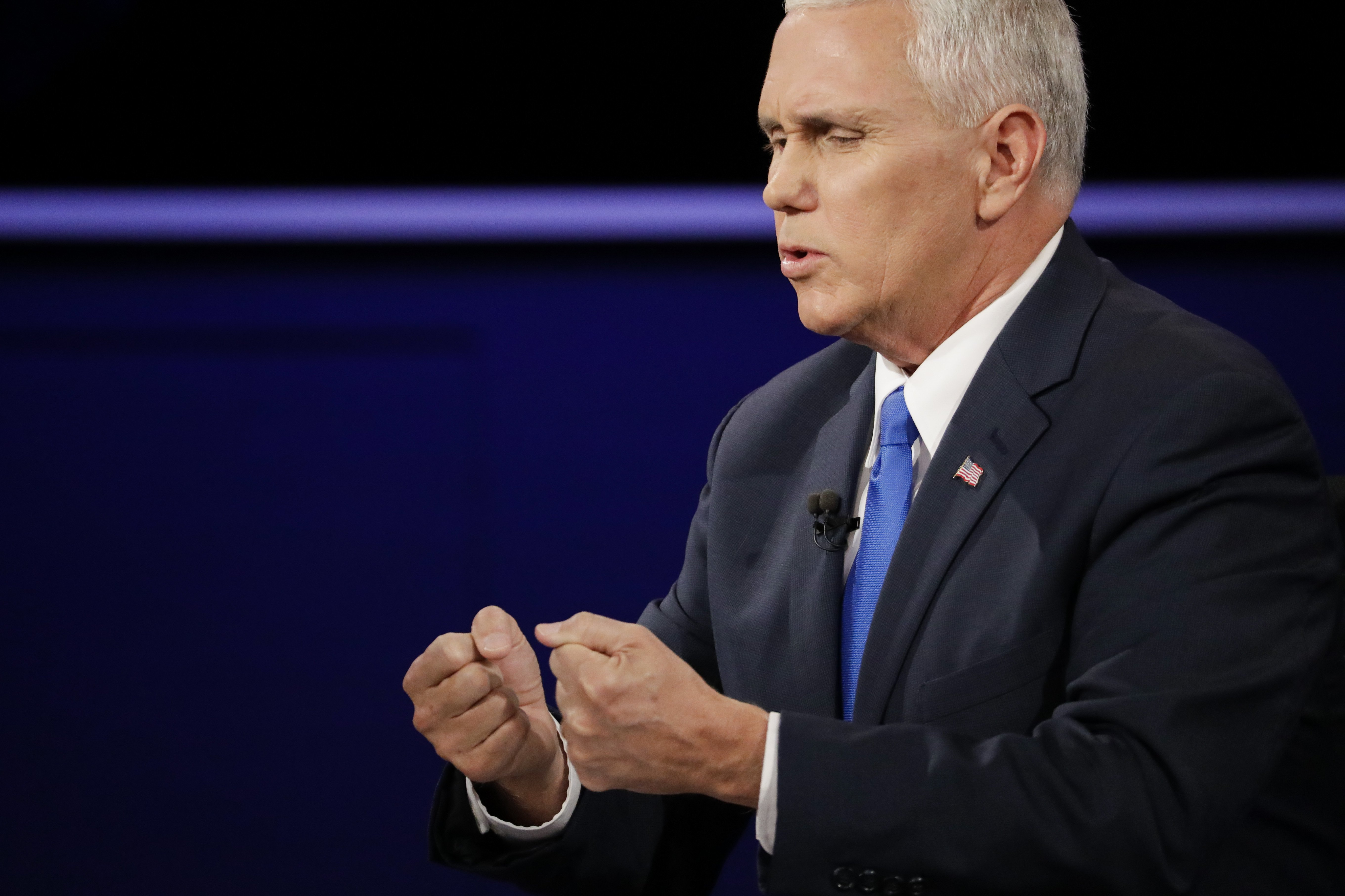Republican vice-presidential nominee Gov. Mike Pence answers a question during the vice-presidential debate at Longwood University in Farmville, Va., Tuesday, Oct. 4, 2016.