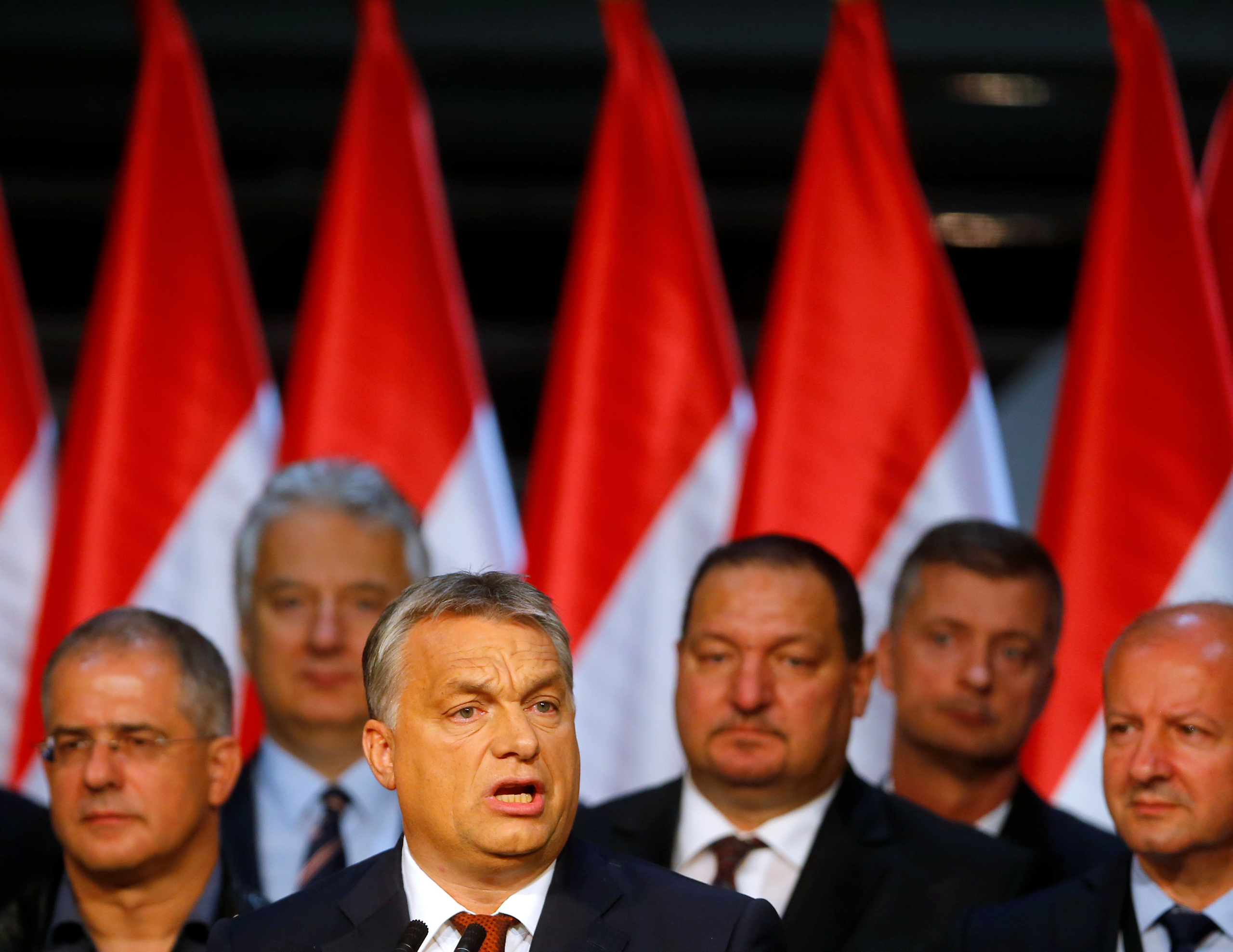 Hungarian Prime Minister Viktor Orban delivers a speech after a referendum on European Union's migrant quotas in Budapest, Hungary on Oct. 2, 2016.