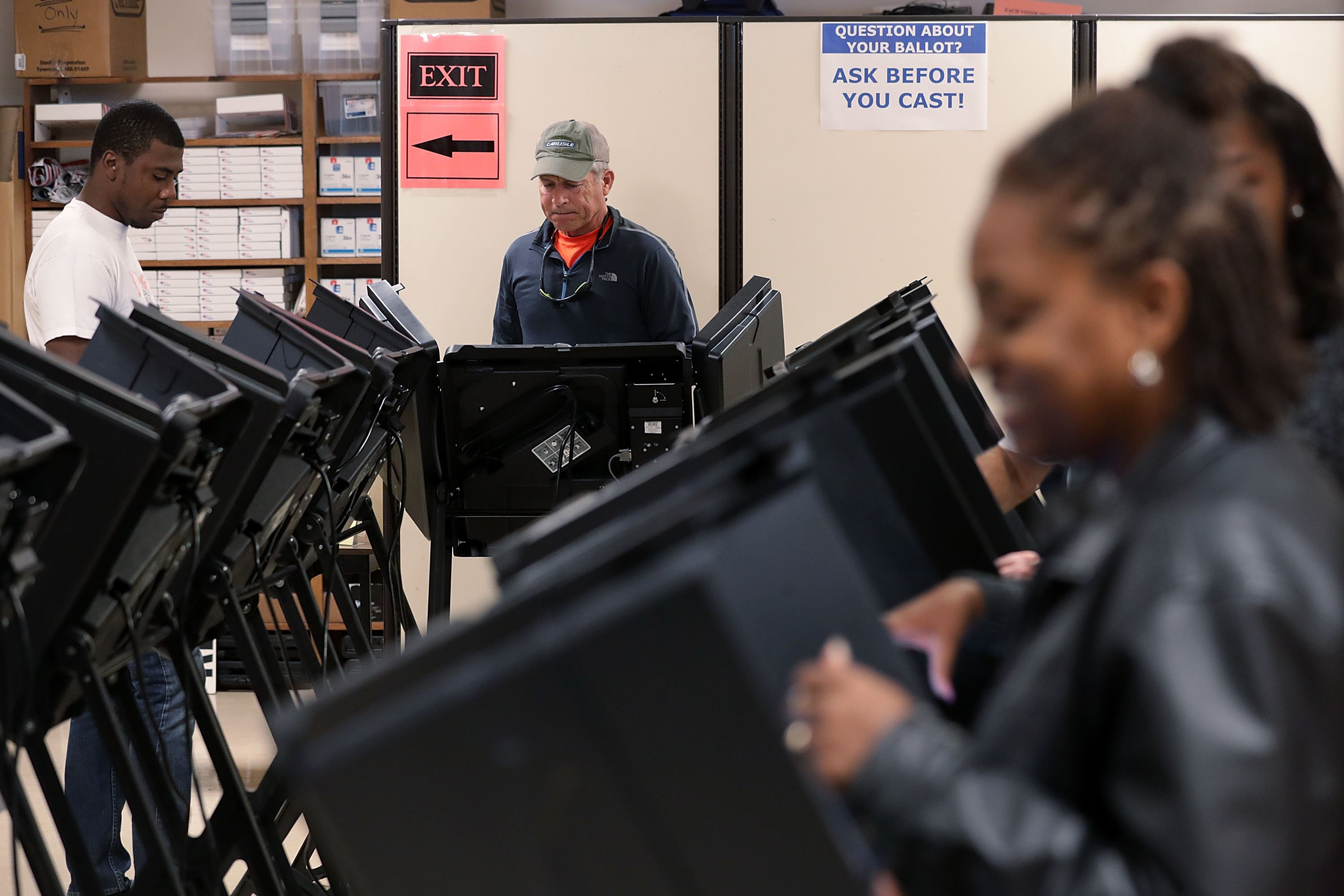 Voters cast their ballots during early voting for the 2016 general election at Forsyth County Government Center in Winston-Salem, N.C., on Oct. 28, 2016.