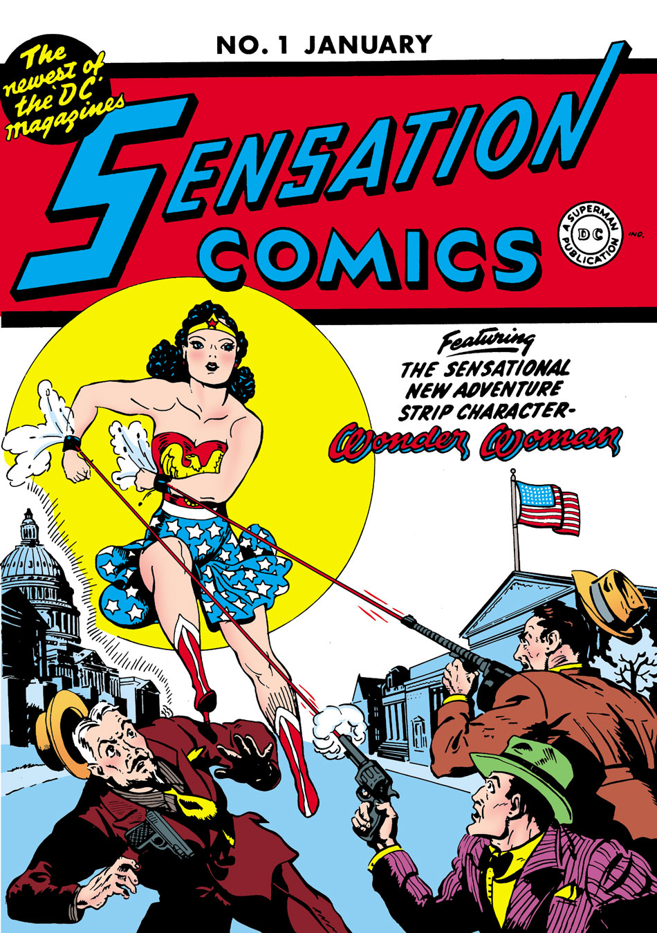 1941: William Moulton Marston invents Wonder Woman, an Amazonian superhero who fights for women's rights and democracy. Her look is inspired by both pinup girls and suffragists.