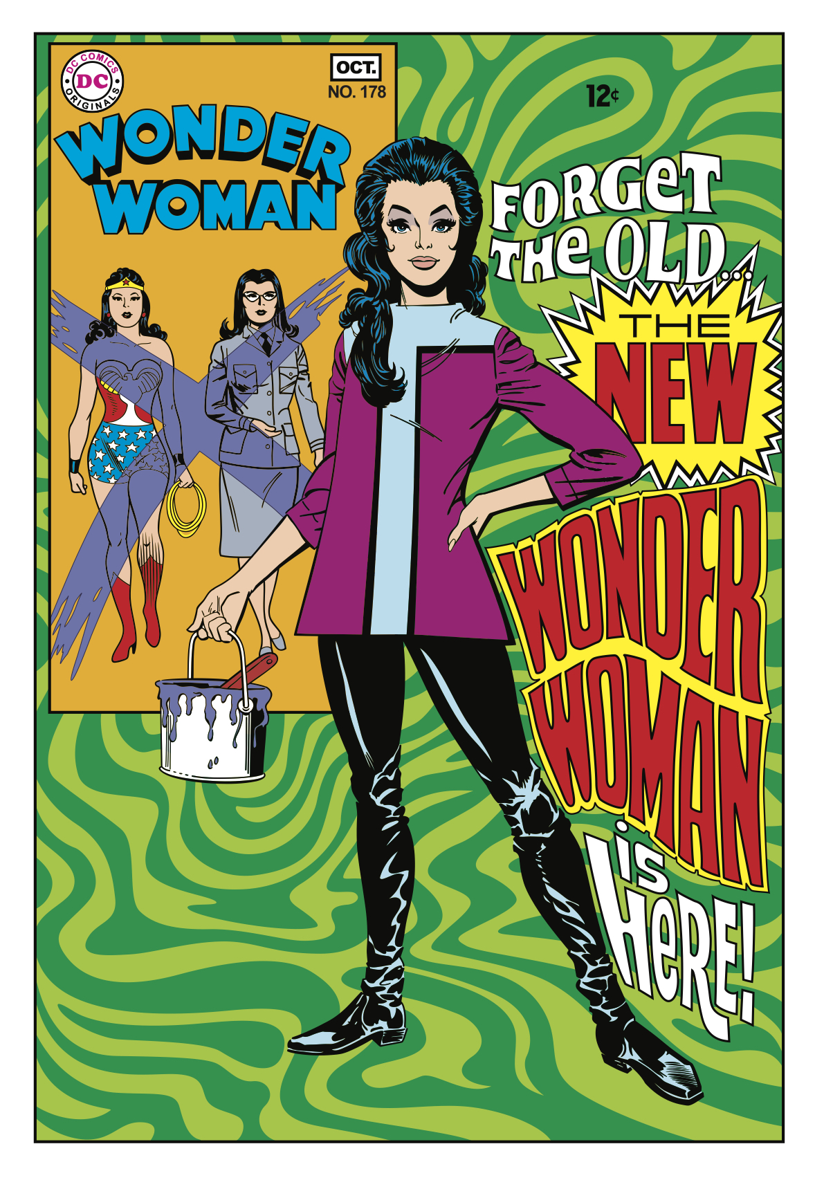 1968: Rejecting her dual identity as hero and secretary, DC rebrands Wonder Woman as a James Bond–like spy figure. In this psychedelic version, she loses her powers but gets to wear pants.