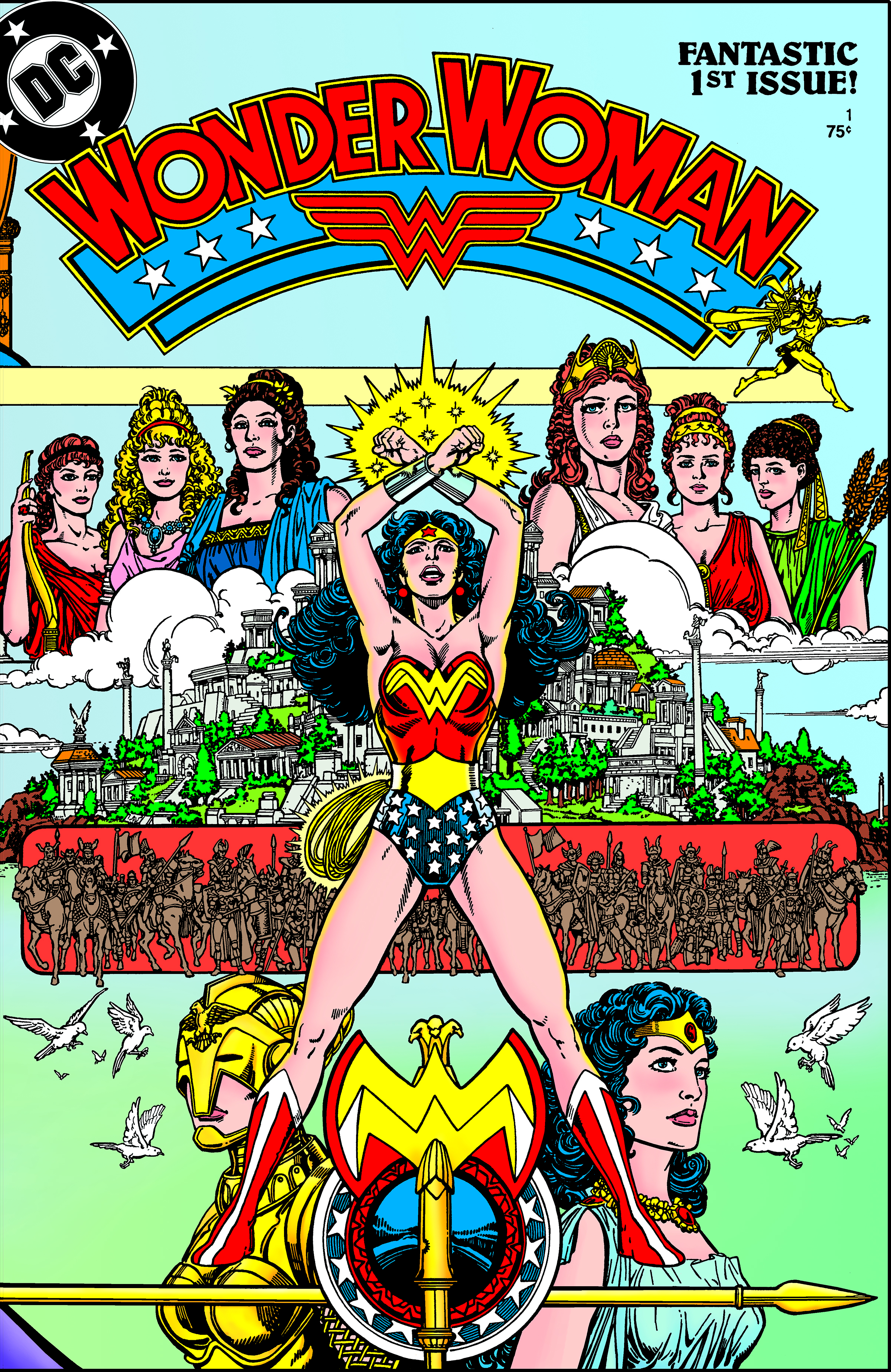1987: Writer George Pérez reboots a flagging franchise. He modernizes Wonder Woman's story, emphasizing her Amazonian origins and making her more muscular.