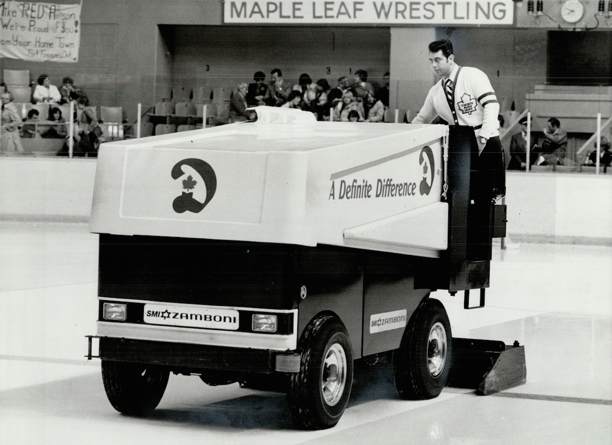 The Zamboni used to clear ice at Maple Leaf Gardens in Toronto in 1980