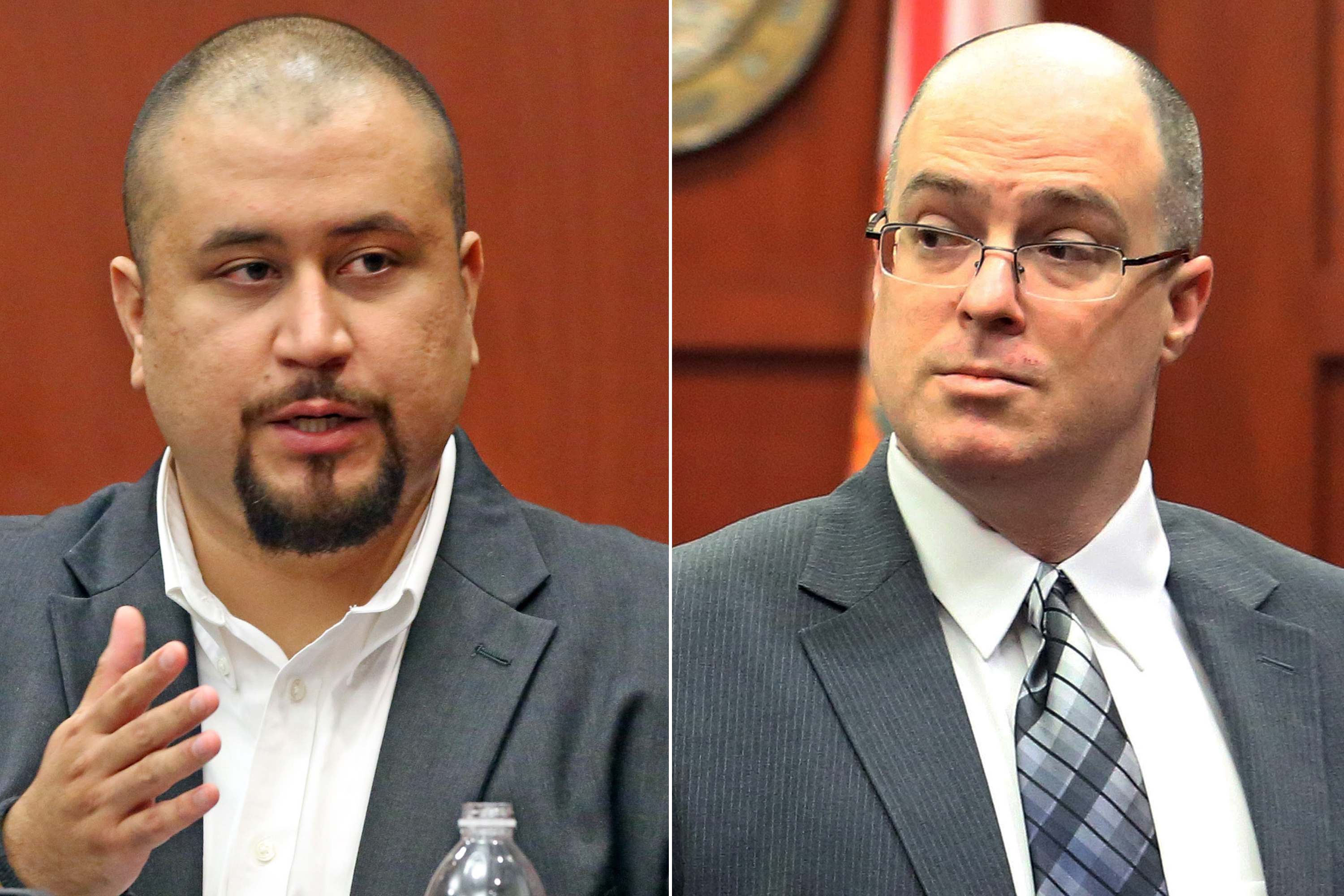 George Zimmerman (l) and Matthew Apperson (r) during a trial at Seminole County courtroom in Sanford, Fla., on Sept. 16, 2016. Apperson is accused of trying to kill George Zimmerman by shooting into his truck during a road rage dispute on Lake Mary Boulevard last year.
