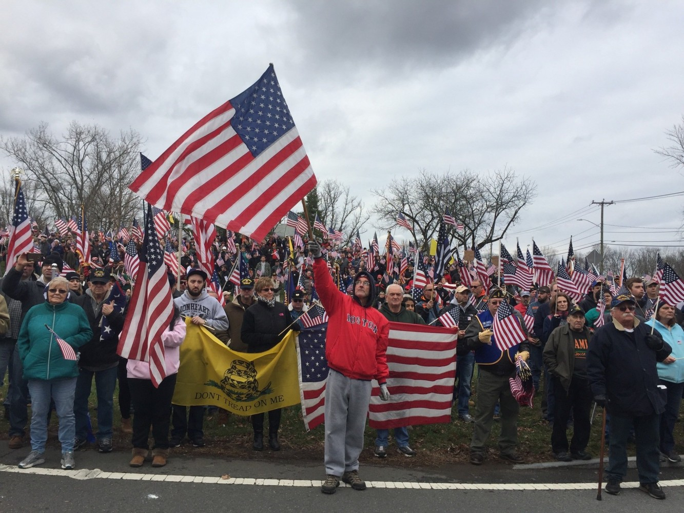 A demonstration at Hampshire College called for the school to reverse a decision to stop flying the American flag, on Nov 27, 2016.