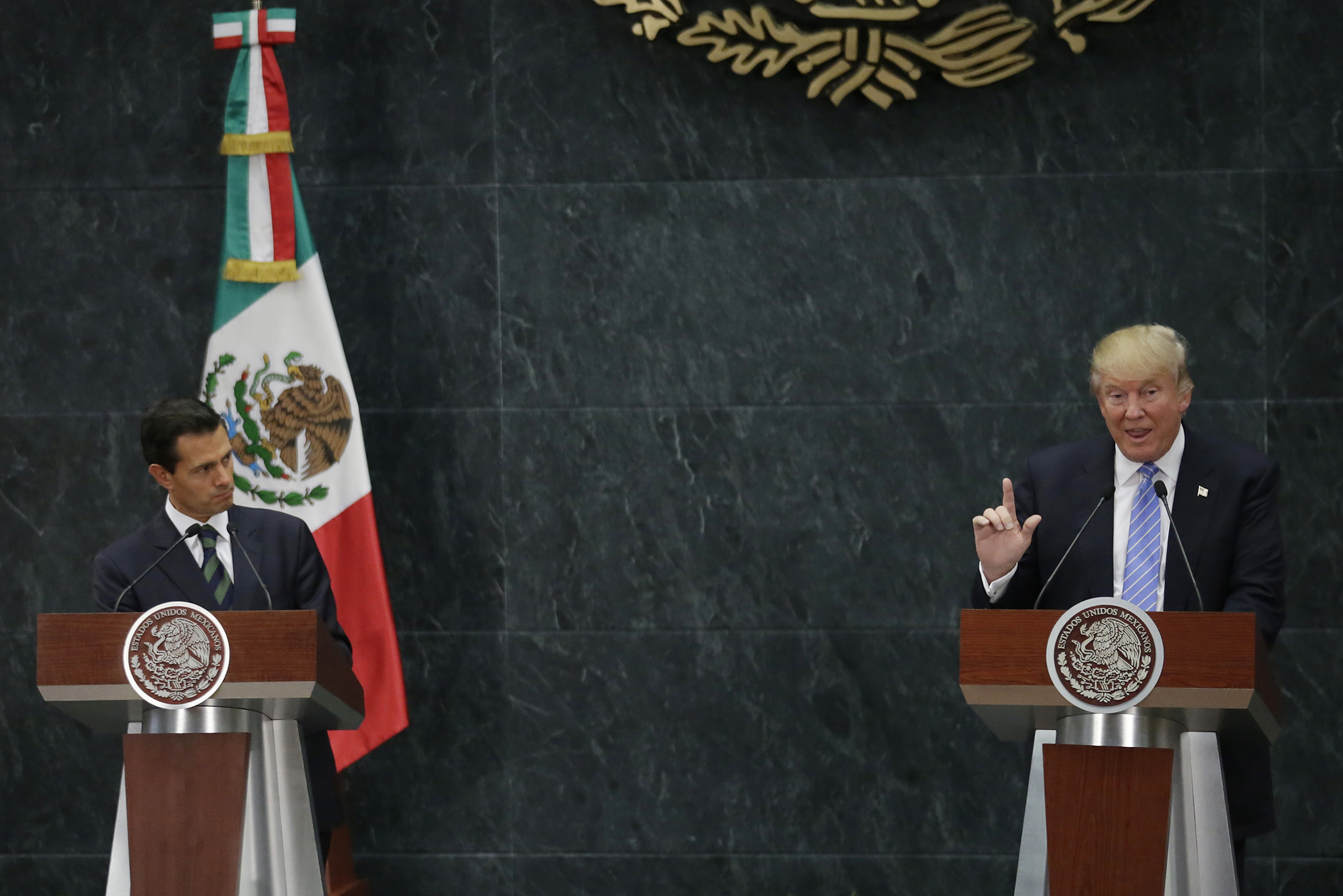 U.S. Republican presidential nominee Donald Trump and Mexico's President Enrique Pena Nieto give a press conference in Mexico City in August.