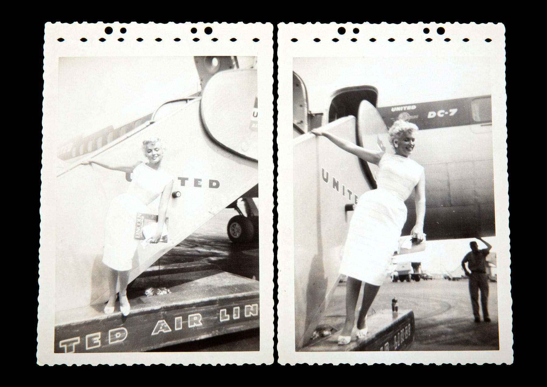 Marilyn Monroe beside a plane.