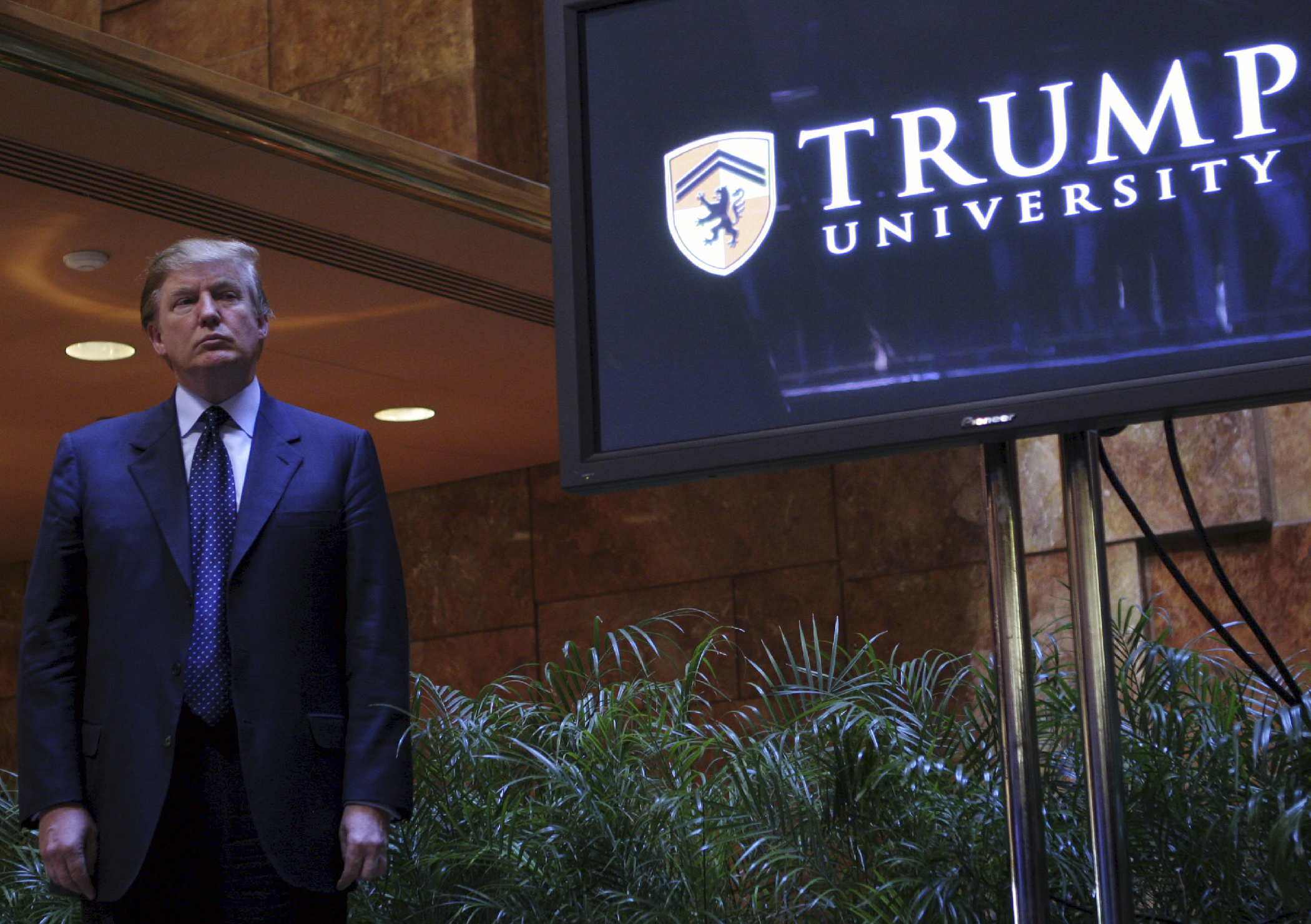 Donald Trump at a media conference announcing the establishment of Trump University, May 23, 2005 in New York City. (Getty Images)