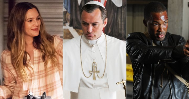 From left: Drew Barrymore in Santa Clarita Diet, Jude Law in The Young Pope and Corey Hawkins in 24: Legacy.