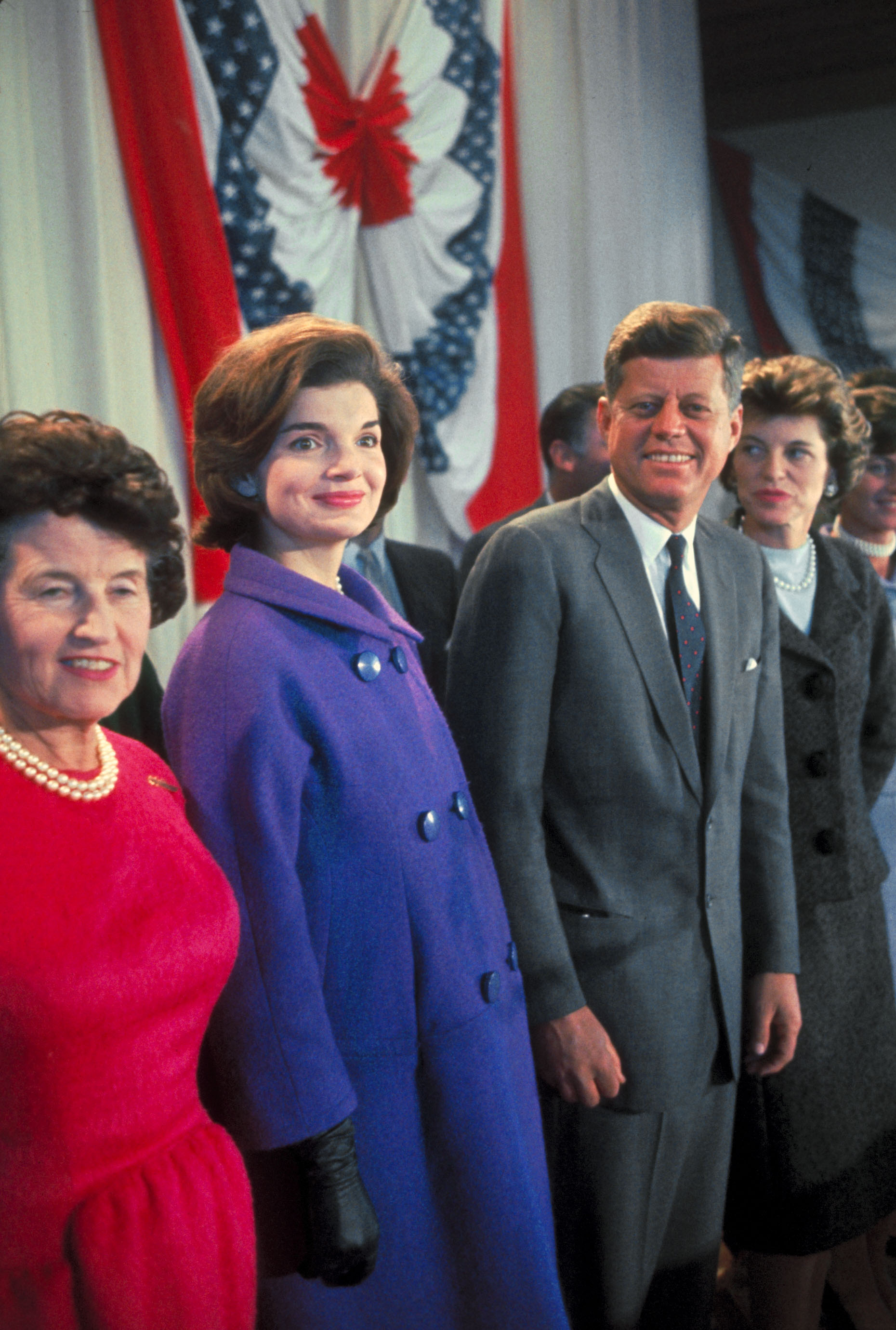 From left, Rose, Jackie, and President-elect John F. Kennedy on the morning after Election Day in 1960.