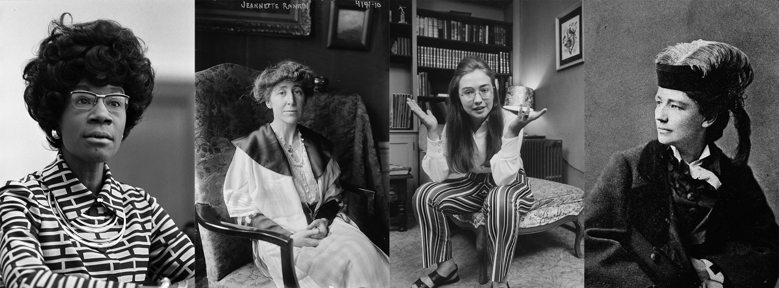 (L-R) Shirley Chisholm, Jeanette Rankin, Hillary Clinton, Victoria Woodhull.