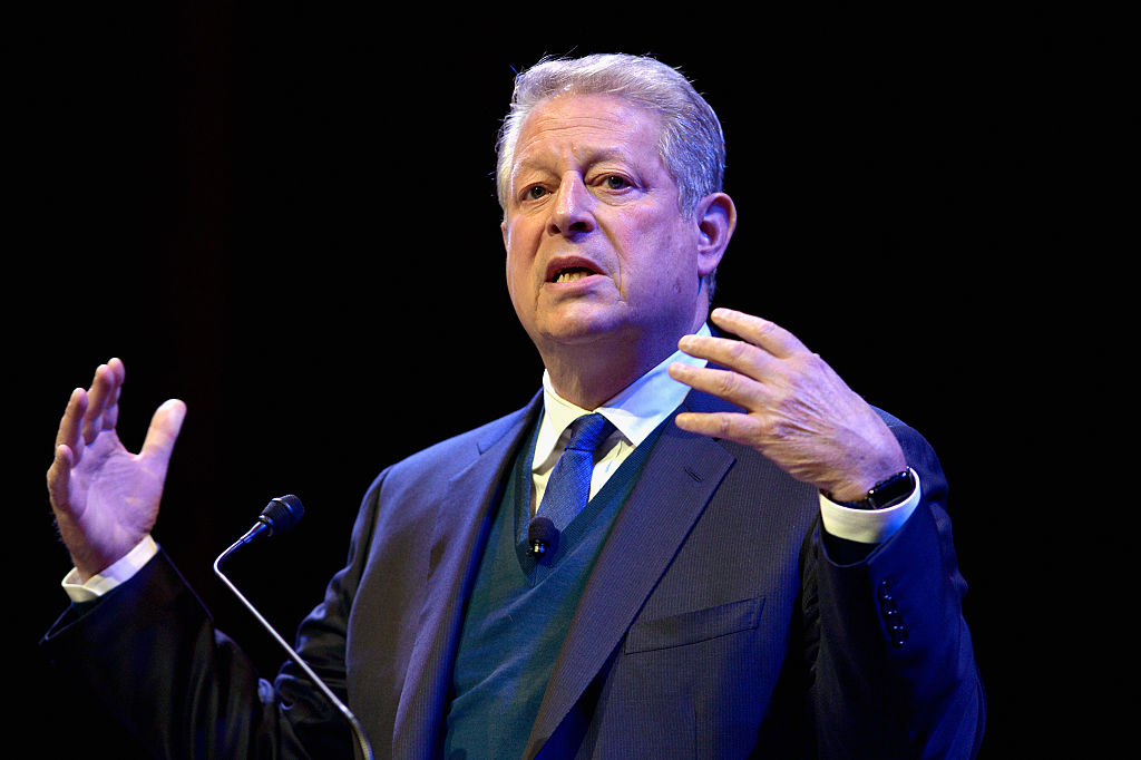 Al Gore at Harvard University's Sanders Theatre on April 7, 2016 in Cambridge, Massachusetts.