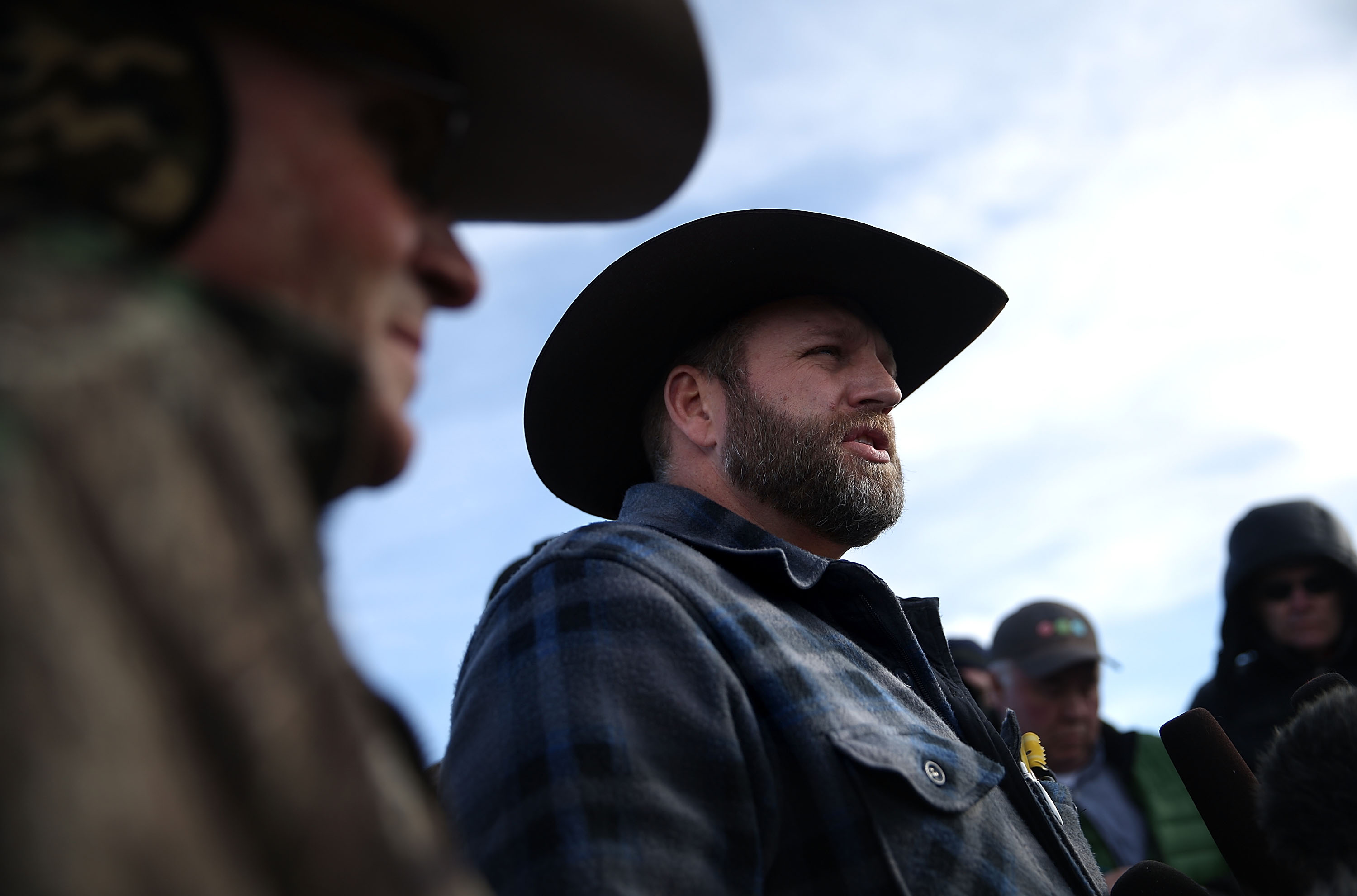 Ammon Bundy speaks to members of the media in front of the Malheur National Wildlife Refuge Headquarters on Jan. 6, 2016 near Burns, Oregon.