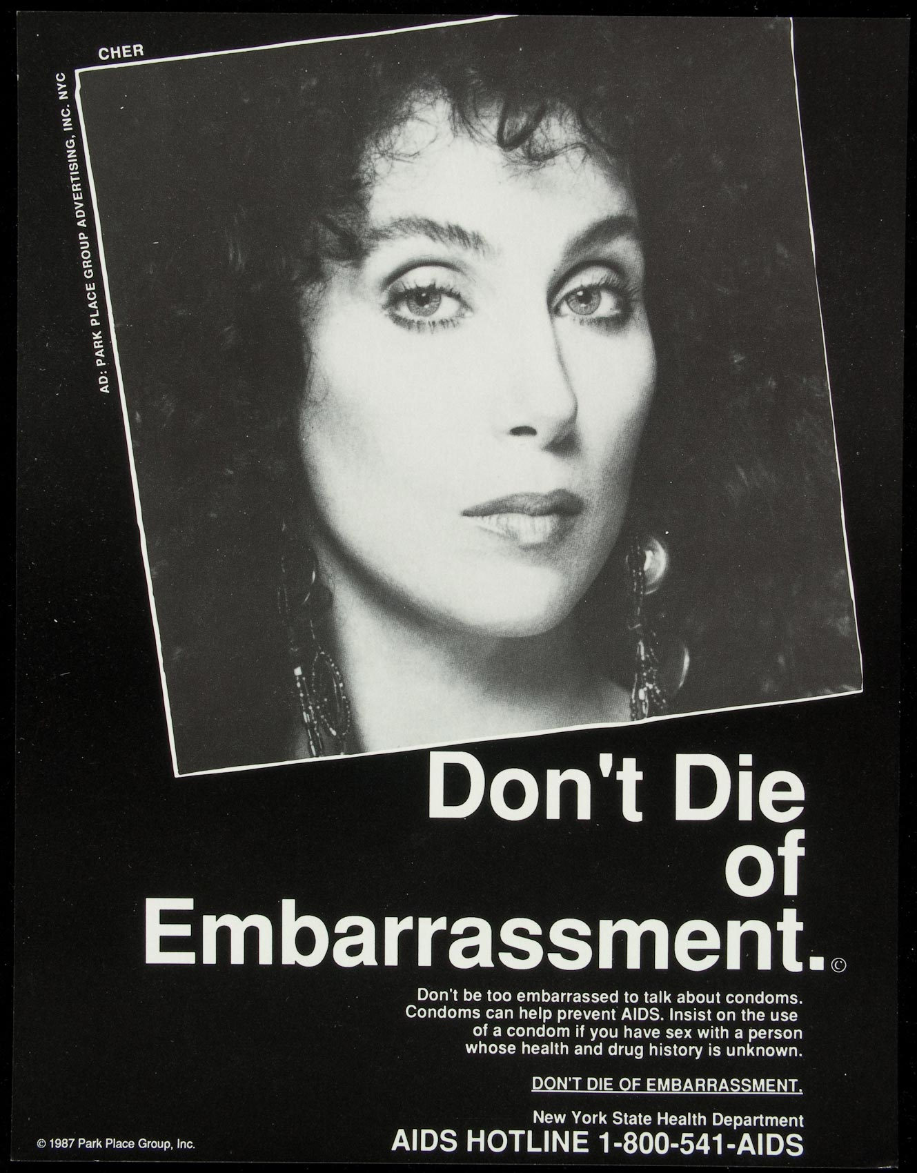 A 1987 poster featuring Cher, made by the New York State Department of Health.