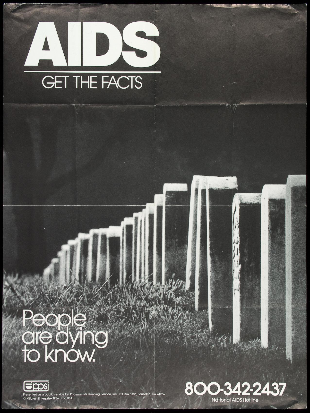 A 1986 poster from Pharmacists Planning Service in California.