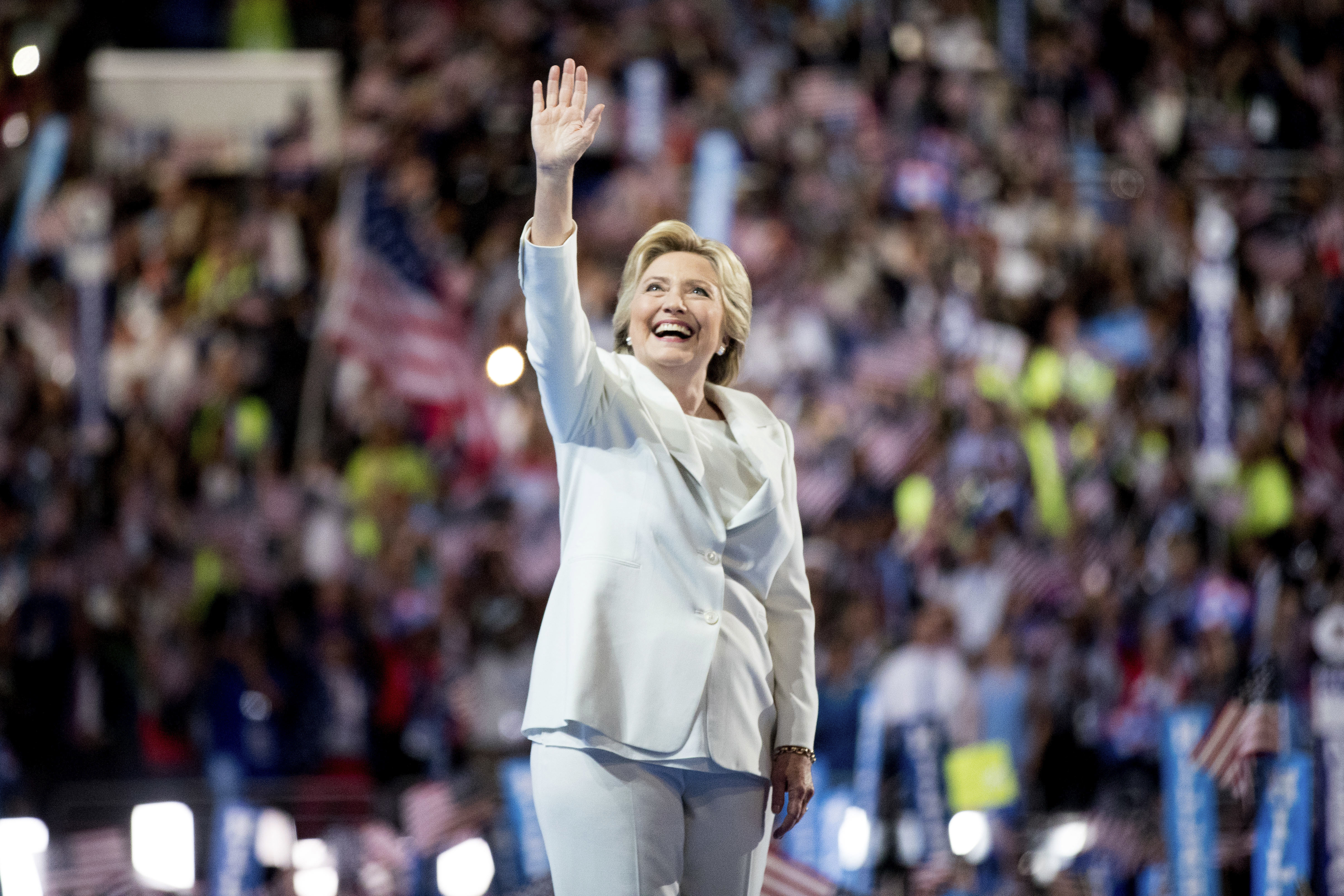 Democratic presidential candidate Hillary Clinton waves to the crowd as she takes the stage to speak during the fourth day session of the Democratic National Convention in Philadelphia on July 28, 2016.