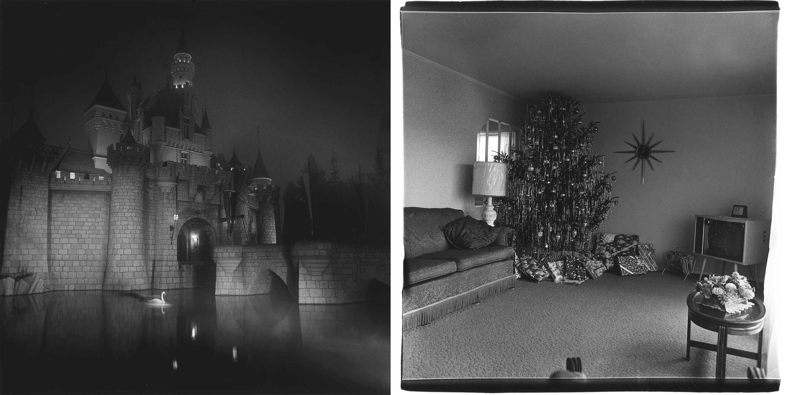 A castle in Disneyland, Cal. 1962 and Xmas tree in living room in Levittown, L.I. 1962                               Gus Powell: These are two Arbus images that are in my juke box, the A and the B side that have stayed with me. These are both fairly well-known images, but are atypical in that they are both absent of a classic Arbus protagonist or freak. I was surprised to learn that both of these were from the early years, and delighted to see more pictures that were absent of people, pictures that let you see Arbus see, rather than see who Arbus saw. The wonderful curation and installation of this exhibition lets you wander amidst the pictures as Arbus might have wandered the city. You encounter an image of an amusement park game. It's a machine with a grip that when fed a coin and squeezed, will let you know your temperament. No one is standing at it, but the light for tender is lit. Such a simple picture, but this is what we do, we go out looking at the world to see what can be seen, but it's always conditioned, illuminated by the feelings that we bring. Every one of her pictures is illuminated with some tenderness.