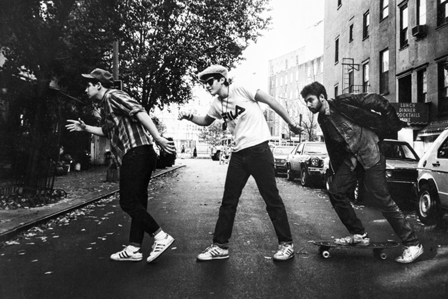 From left: Ad-Rock, Mike D and MCA in an image known as the  Charles Street Shuffle,  during Powell's first official shoot with the Beastie Boys for the East Village Eye in 1986.