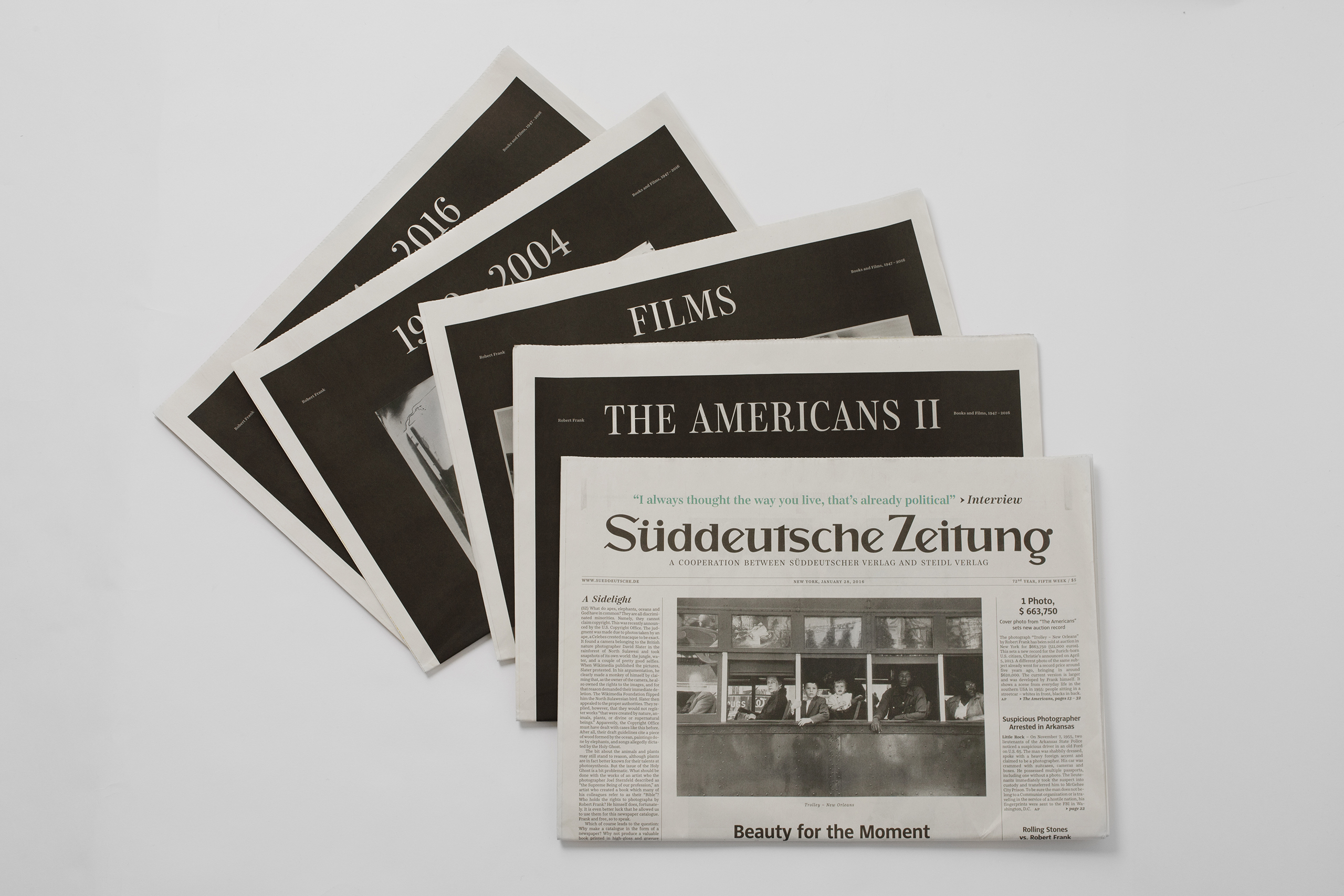 Süddeutsche Zeitung a cooperation between Suddeutsche Zeitung and Steidl, photographs by Robert FrankPublished by Suddeutsche Zeitung and Steidl