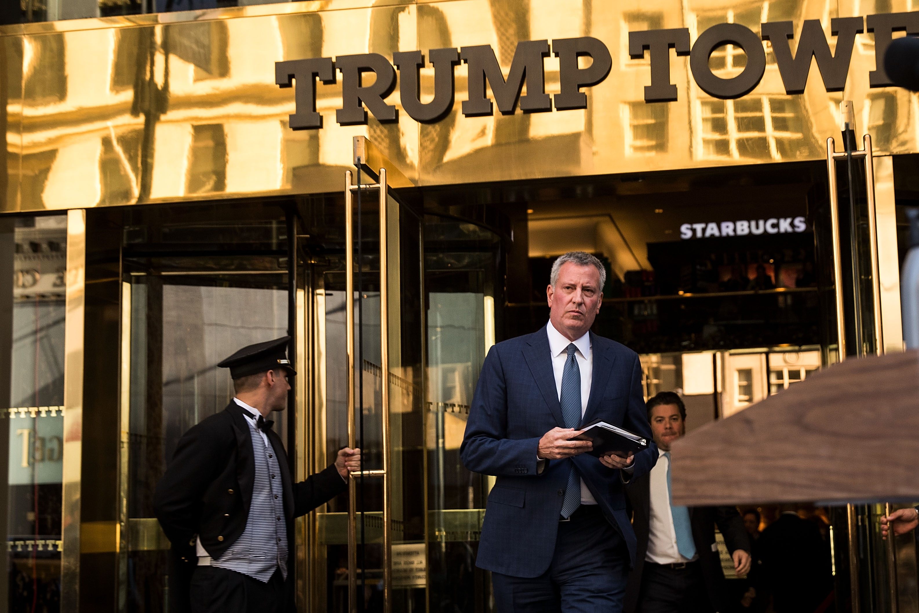 New York City mayor Bill de Blasio walks out of Trump Tower to speak to the press after his meeting with president-elect Donald Trump in New York City on Nov. 16, 2016.