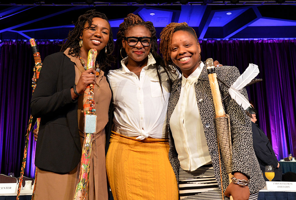 The founders of Black Lives Matter attend The New York Women's Foundation Celebrating Women Breakfast at Marriott Marquis Hotel on May 14, 2015 in New York City.