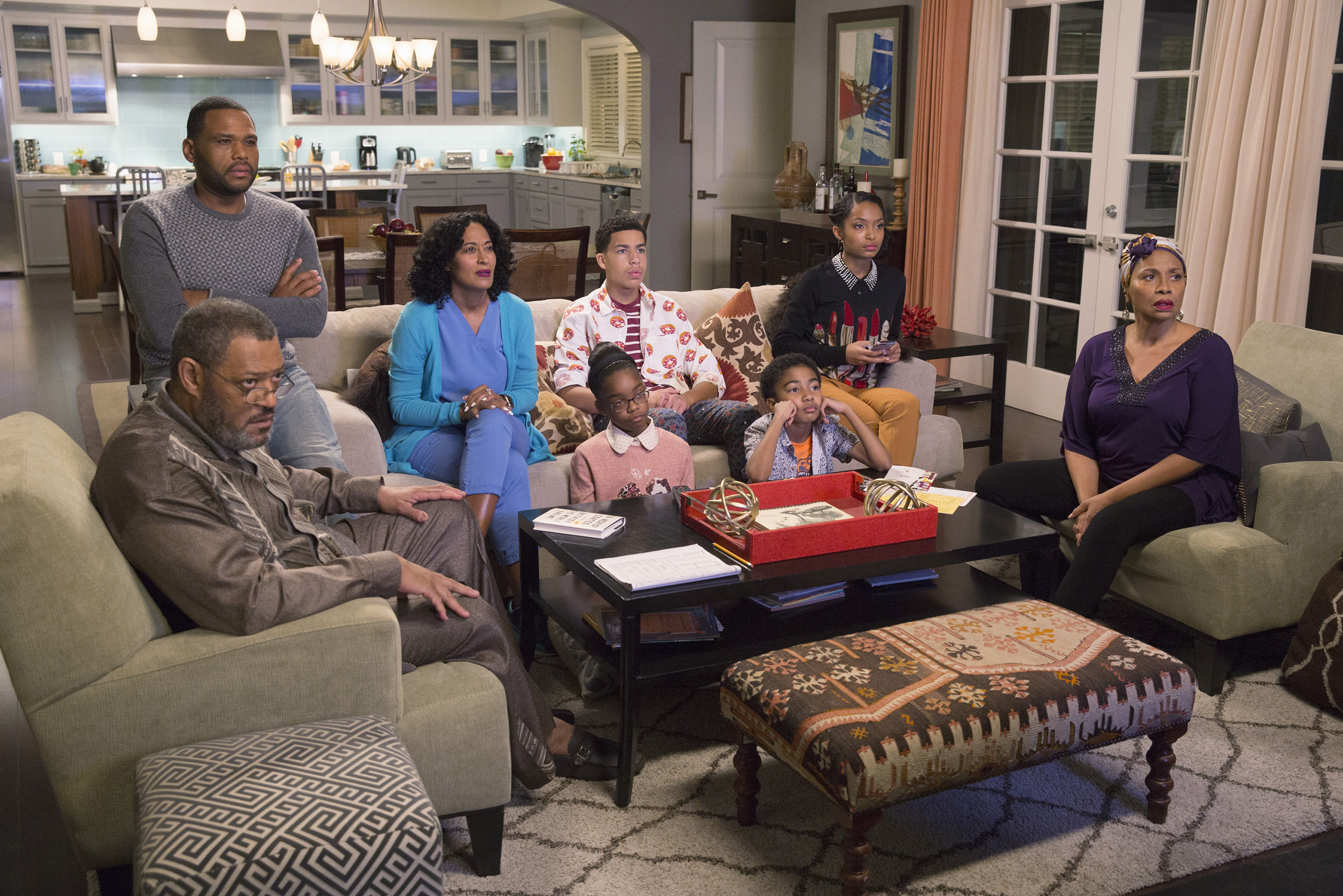 BLACK-ISH -  Hope  - When the kids ask some tough questions in the midst of a highly publicized court case involving alleged police brutality and an African-American teenager, Dre and Bow are conflicted on how best to field them. Dre, along with Pops and Ruby, feel the kids need to know what kind of world they're living in, while Bow would like to give them a more hopeful view about life. When the verdict is announced, the family handles the news in different ways while watching the community react, on  black-ish,  WEDNESDAY, FEBRUARY 24 (9:31-10:00 p.m. EST) on the ABC Television Network. (Patrick Wymore/ABC via Getty Images) LAURENCE FISHBURNE, ANTHONY ANDERSON, TRACEE ELLIS ROSS, MARSAI MARTIN, MARCUS SCRIBNER, MILES BROWN, YARA SHAHIDI, JENIFER LEWIS
