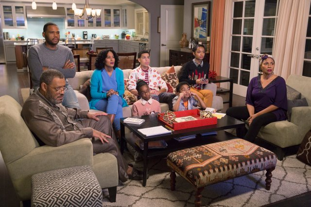 "BLACK-ISH - ""Hope"" - When the kids ask some tough questions in the midst of a highly publicized court case involving alleged police brutality and an African-American teenager, Dre and Bow are conflicted on how best to field them. Dre, along with Pops and Ruby, feel the kids need to know what kind of world they're living in, while Bow would like to give them a more hopeful view about life. When the verdict is announced, the family handles the news in different ways while watching the community react, on ""black-ish,"" WEDNESDAY, FEBRUARY 24 (9:31-10:00 p.m. EST) on the ABC Television Network. (Patrick Wymore/ABC via Getty Images) LAURENCE FISHBURNE, ANTHONY ANDERSON, TRACEE ELLIS ROSS, MARSAI MARTIN, MARCUS SCRIBNER, MILES BROWN, YARA SHAHIDI, JENIFER LEWIS"