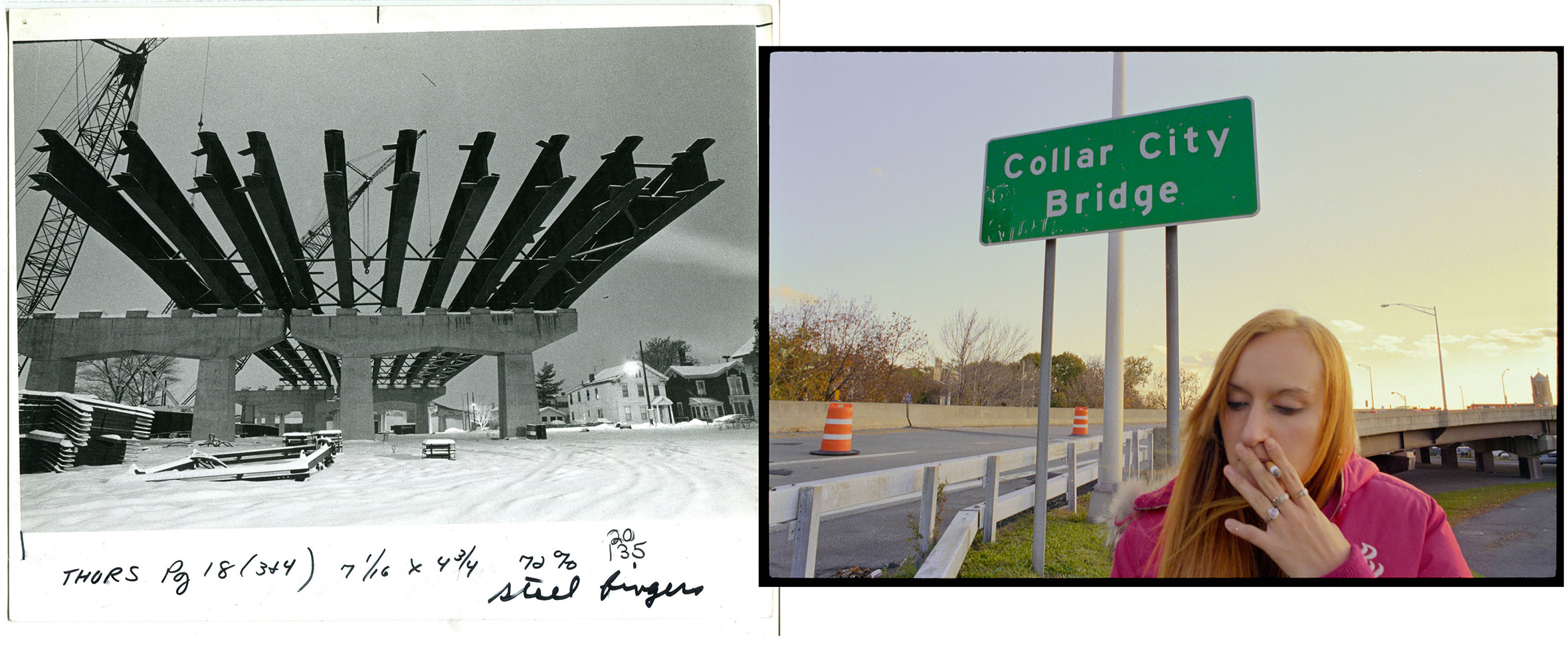 Left: Construction of Collar City Bridge.  Troy, NY, c. late 1970s.                                The bridge was part of a larger, nationwide Urban Renewal program, and one of the developments that city planners say in hindsight played a major part in the death of downtown Troy.                                                              Right: Kayla at Collar City Bridge, on the way to her first job interview at a Dunkin Donuts in a strip mall across from the 1787 highway.  Spring 2007.