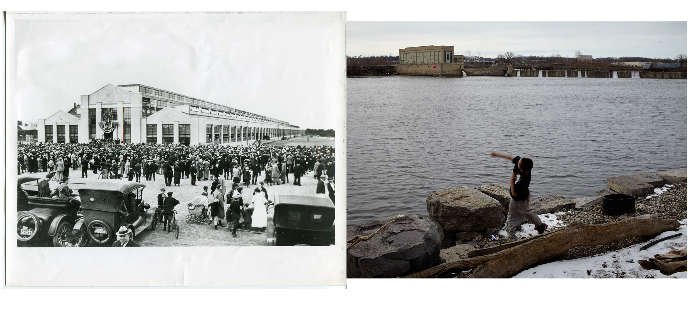 Left: In Green Island, across the Hudson from Troy, a Ford Motor plant was opened in 1922.                                                              Right: Tony skipping rocks in The Hudson, with old Ford Motor Plant across the River.                                 Troy NY.  2012.