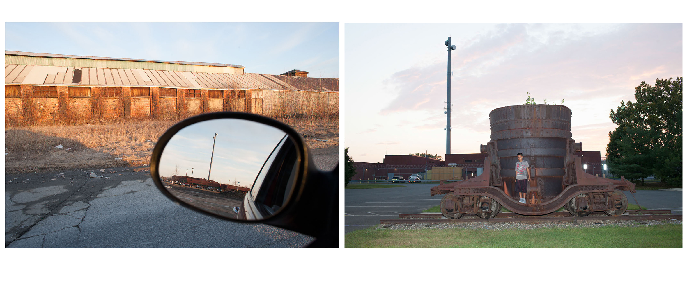 Left: The ruinous remains of the mighty Burden Iron Works.  South Troy, NY. 2008.                                A view of an expanding Rensselaer County Jail in my rearview mirror.                                                              Right: Tony in front of Ladle Car outside Burden Iron works Museum with Rensselaer County Jail in the background.  Troy, NY. 2014.