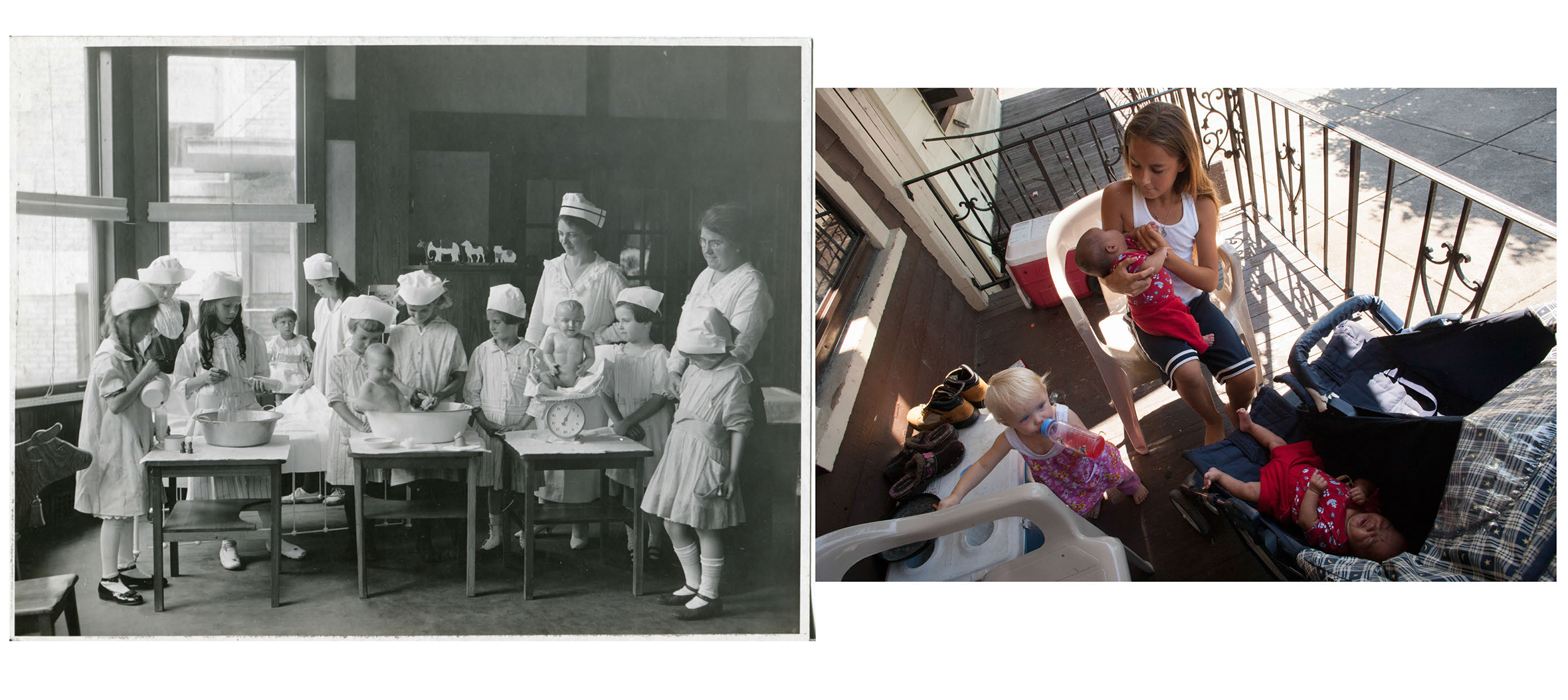 Left: Propaganda photo of Little Mothers League donated to The Rensselaer County Historical Society by The Office of Medical Misconduct.  c. 1940.                                                              Right: Christy Stocklas, 10 years old, tends to three of the younger ones in her family.                                 Troy, NY.  2008.