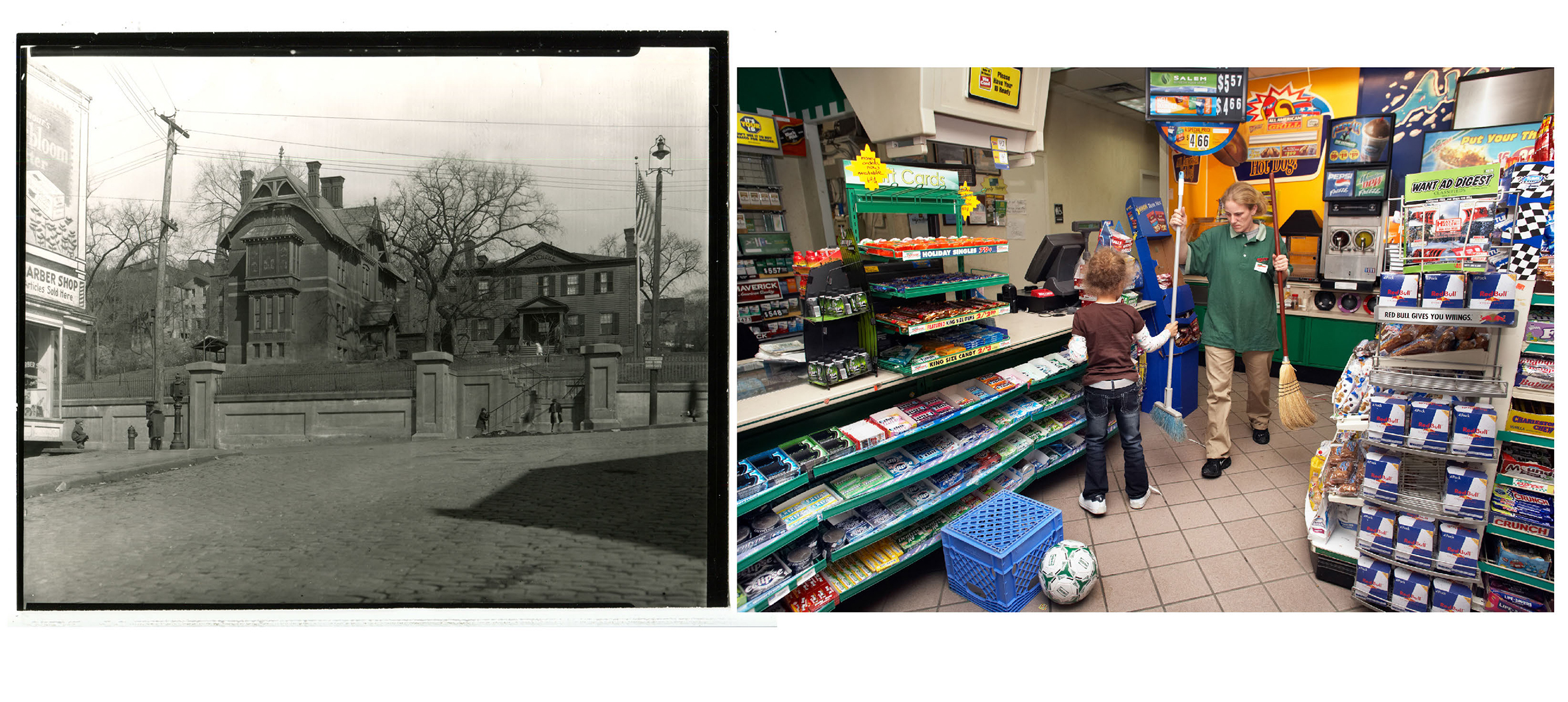 Left: Mansion of landowner George Tibbits housed the Troy Day Home.  c. 1861.                               The Troy Day Home became the first institution in the country to care for the children of working women during the hours of their labors.                                                              Right: DJ's daughter Deana spends the hours after school helping her mom work at the Hess Mini-mart.  Troy, NY.  2008.