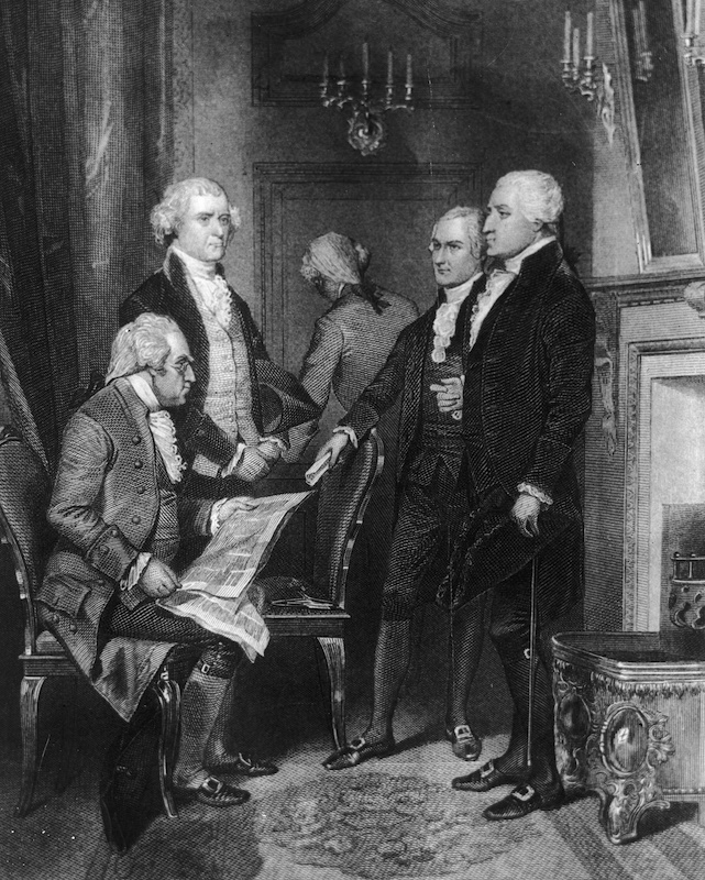 U.S. President George Washington's first cabinet, circa 1790.