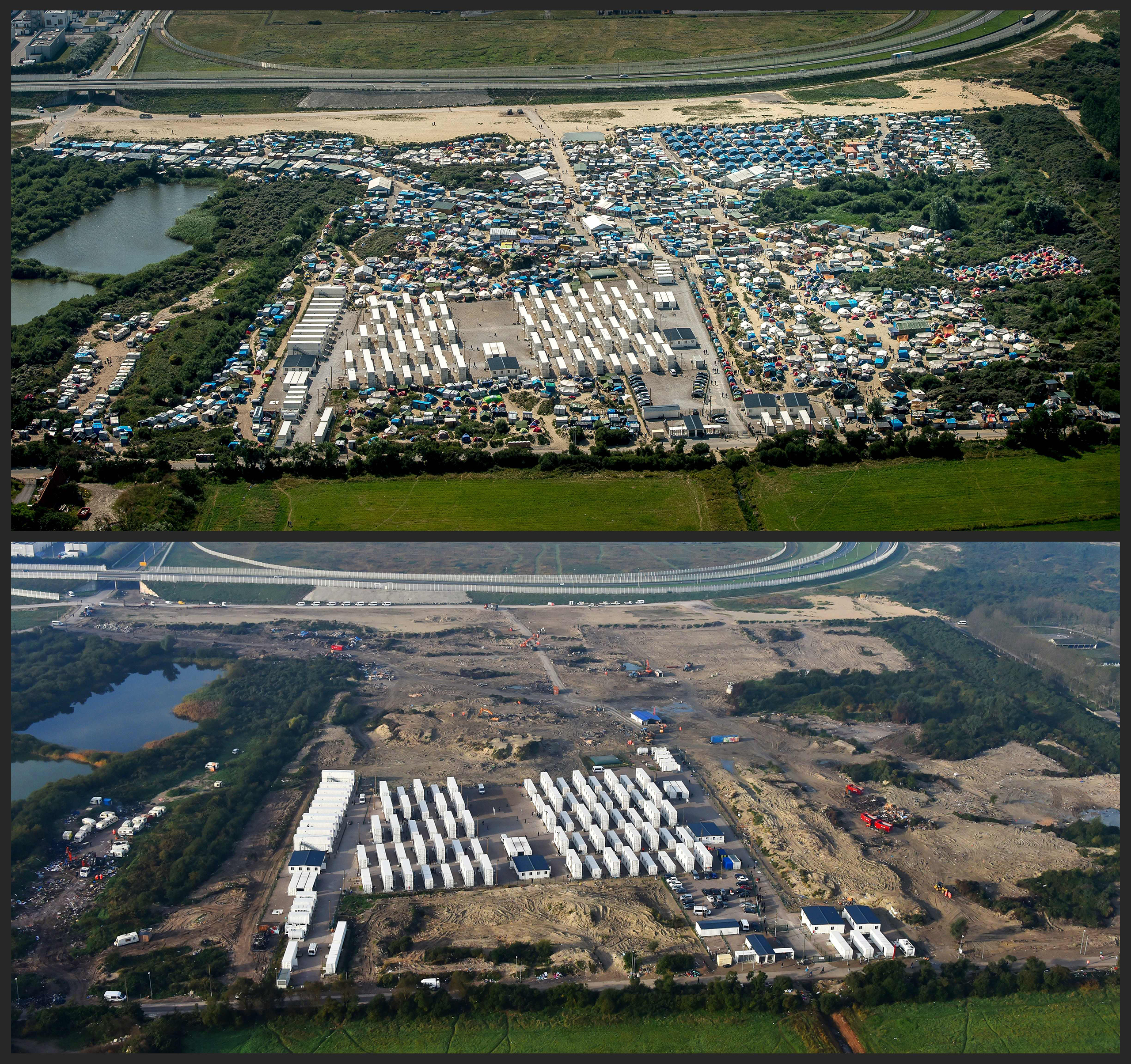 A combination shows two aerial views of the  Jungle  camp in Calais, northern France, on Aug. 16, 2016 and Nov. 1, 2016. The bottom picture shows the aftermath of forced evictions of thousands of migrants and demolition of the shacks in which they slept.