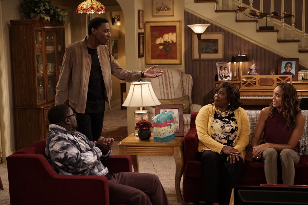 THE CARMICHAEL SHOW --  Fallen Heroes  Episode 202 -- Pictured: (l-r) Lil Rel Howery as Bobby Carmichael, Jerrod Carmichael as Jerrod Carmichael, Loretta Devine as Cynthia Carmichael, Amber Stevens West as Maxine -- (Photo by: Chris Haston/NBC)